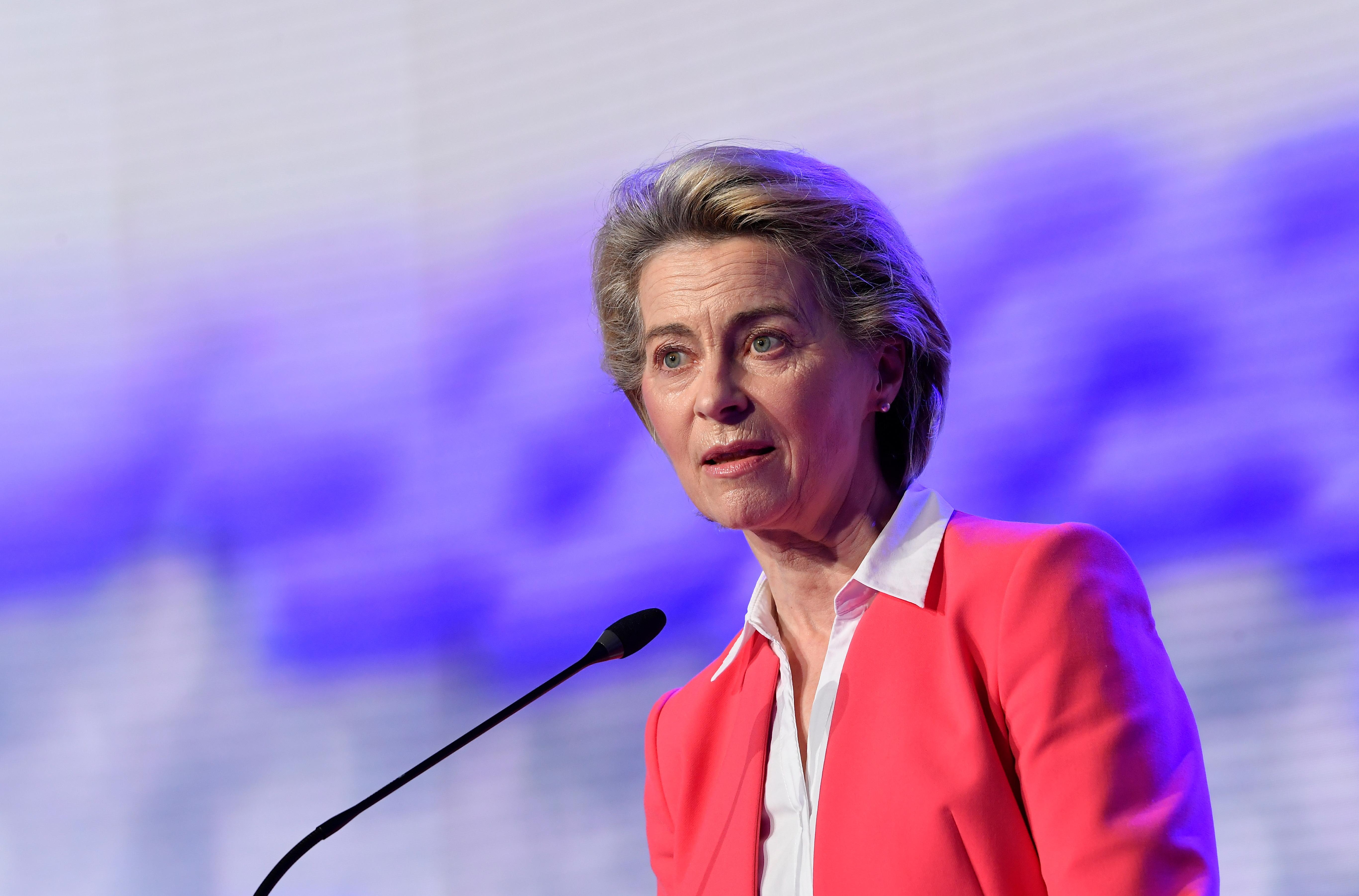 European Commission President Ursula von der Leyen addresses a press conference in Puurs, Belgium April 23, 2021. John Thys /Pool via REUTERS
