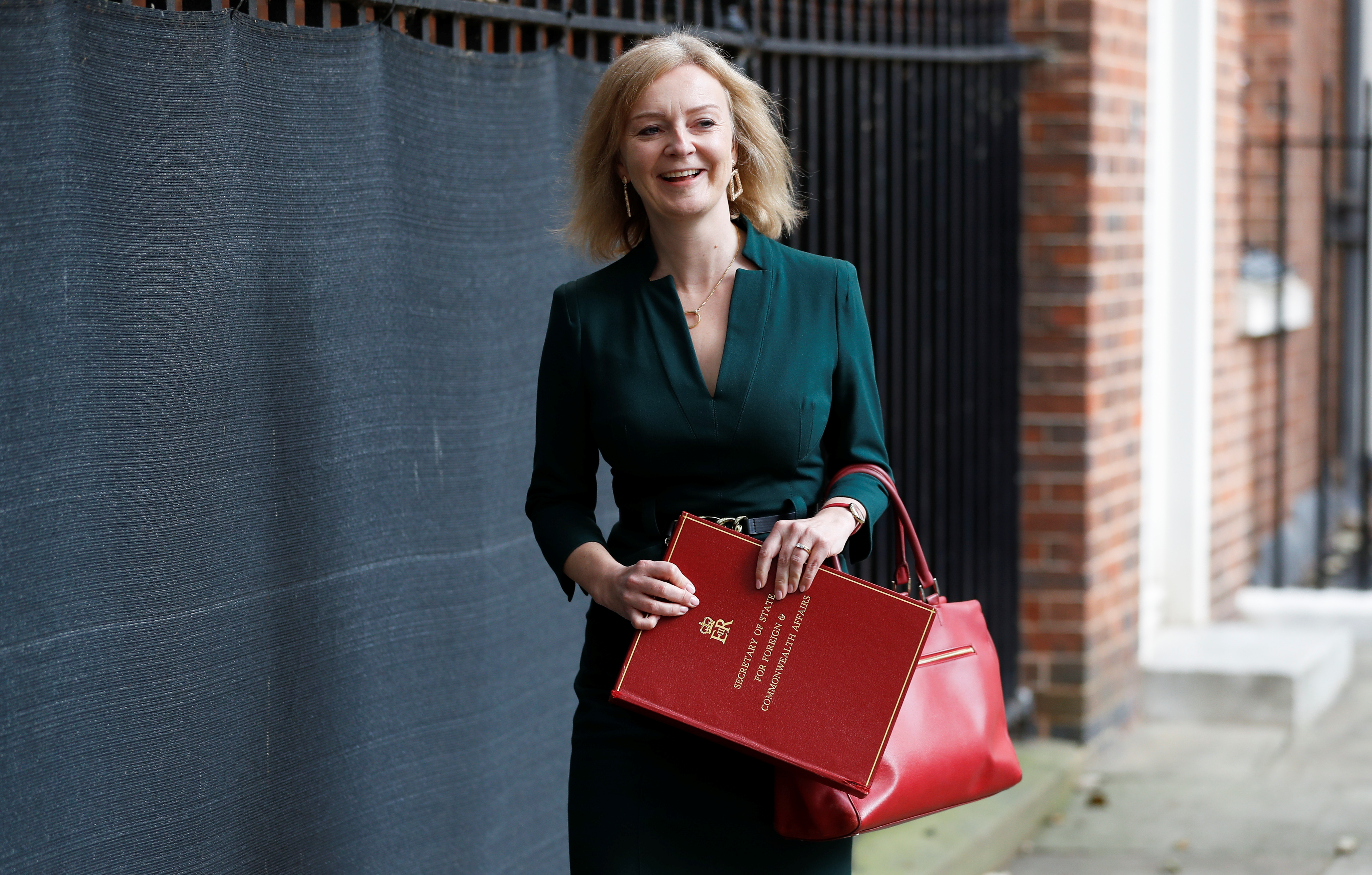 Britain's recently appointed Foreign Secretary Liz Truss leaves Downing Street after the cabinet meeting, in London, Britain September 17, 2021. REUTERS/Peter Nicholls