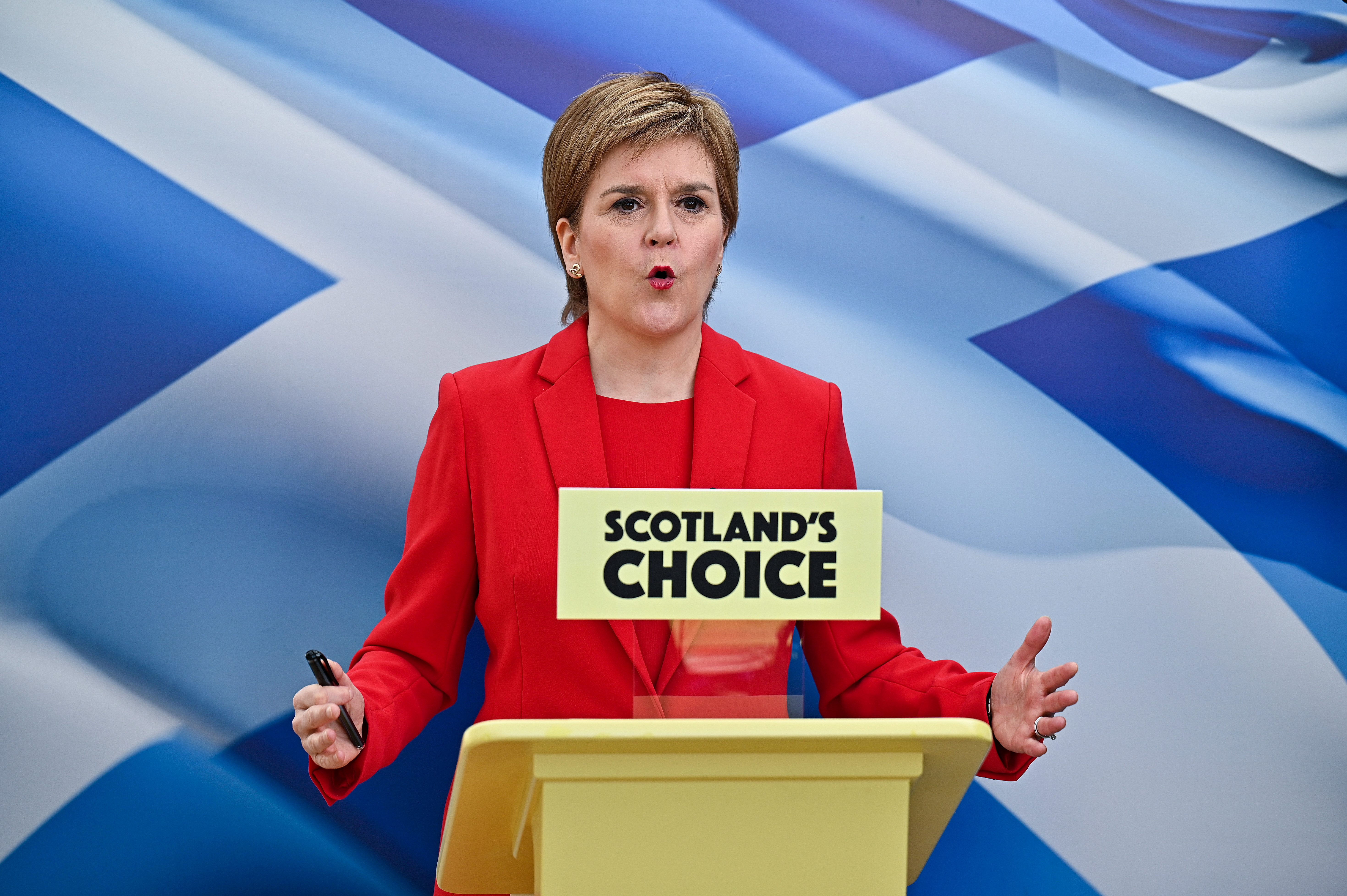 Scotland's First Minister and leader of the Scottish National Party, Nicola Sturgeon, launches her manifesto during the Scottish Parliamentary election in Glasgow, Scotland, Britain April 15, 2021 . Jeff J Mitchell/Pool via REUTERS