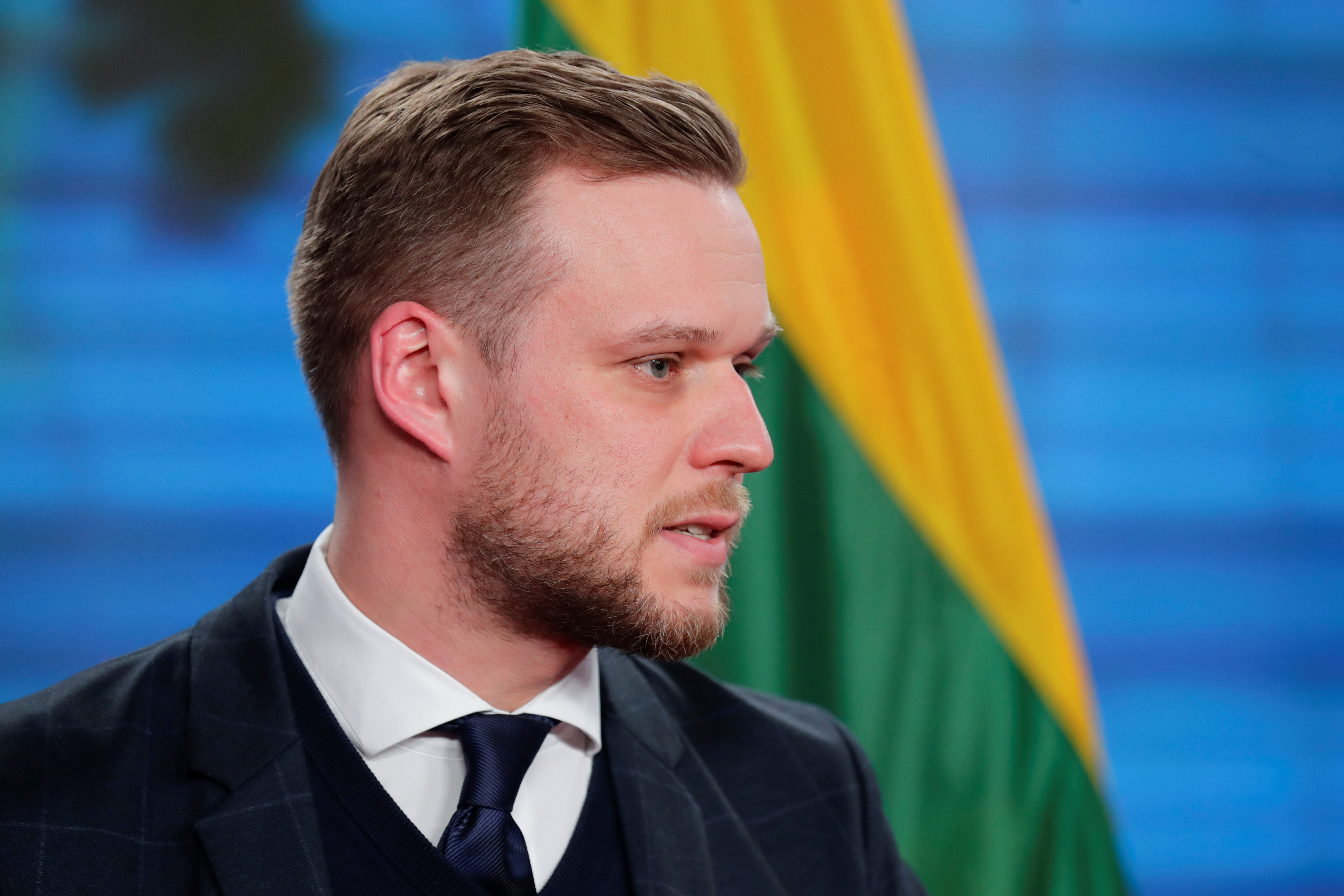 Lithuanian Foreign Minister Gabrielius Landsbergis looks on during a joint news conference with his German counterpart Heiko Maas, in Berlin, Germany, March 17, 2021. REUTERS/Hannibal Hanschke/Pool
