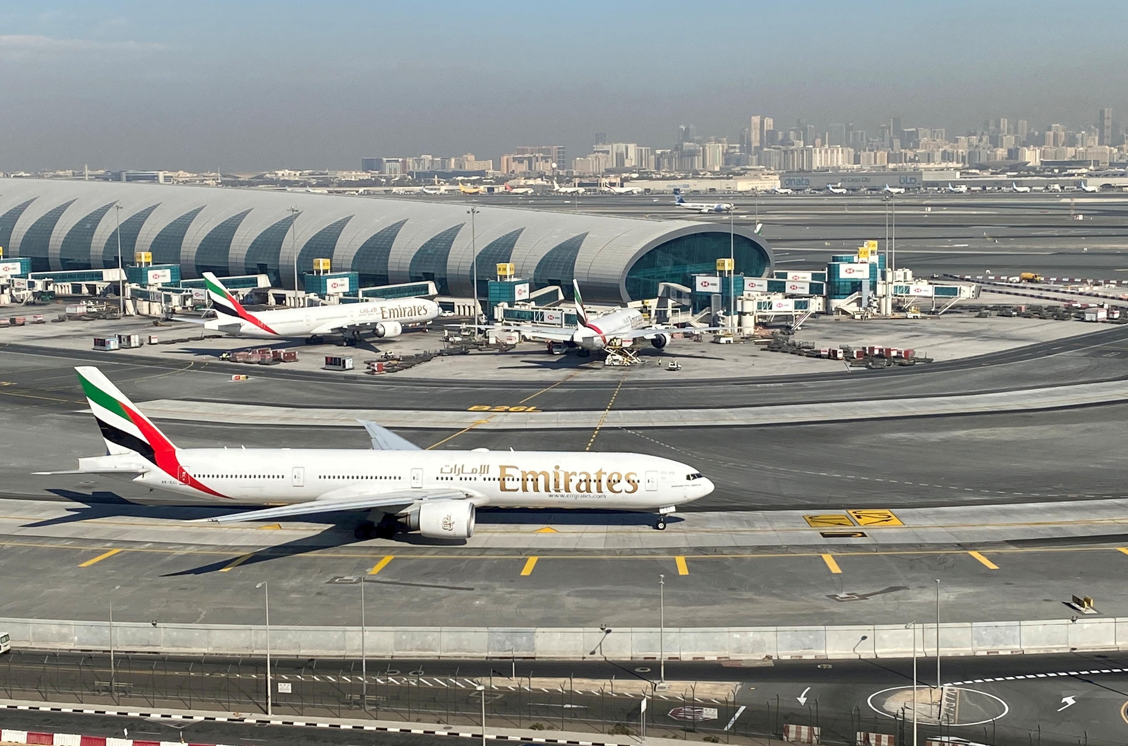 Emirates airliners are seen on the tarmac in a general view of Dubai International Airport in Dubai, United Arab Emirates January 13, 2021. REUTERS/Abdel Hadi Ramahi