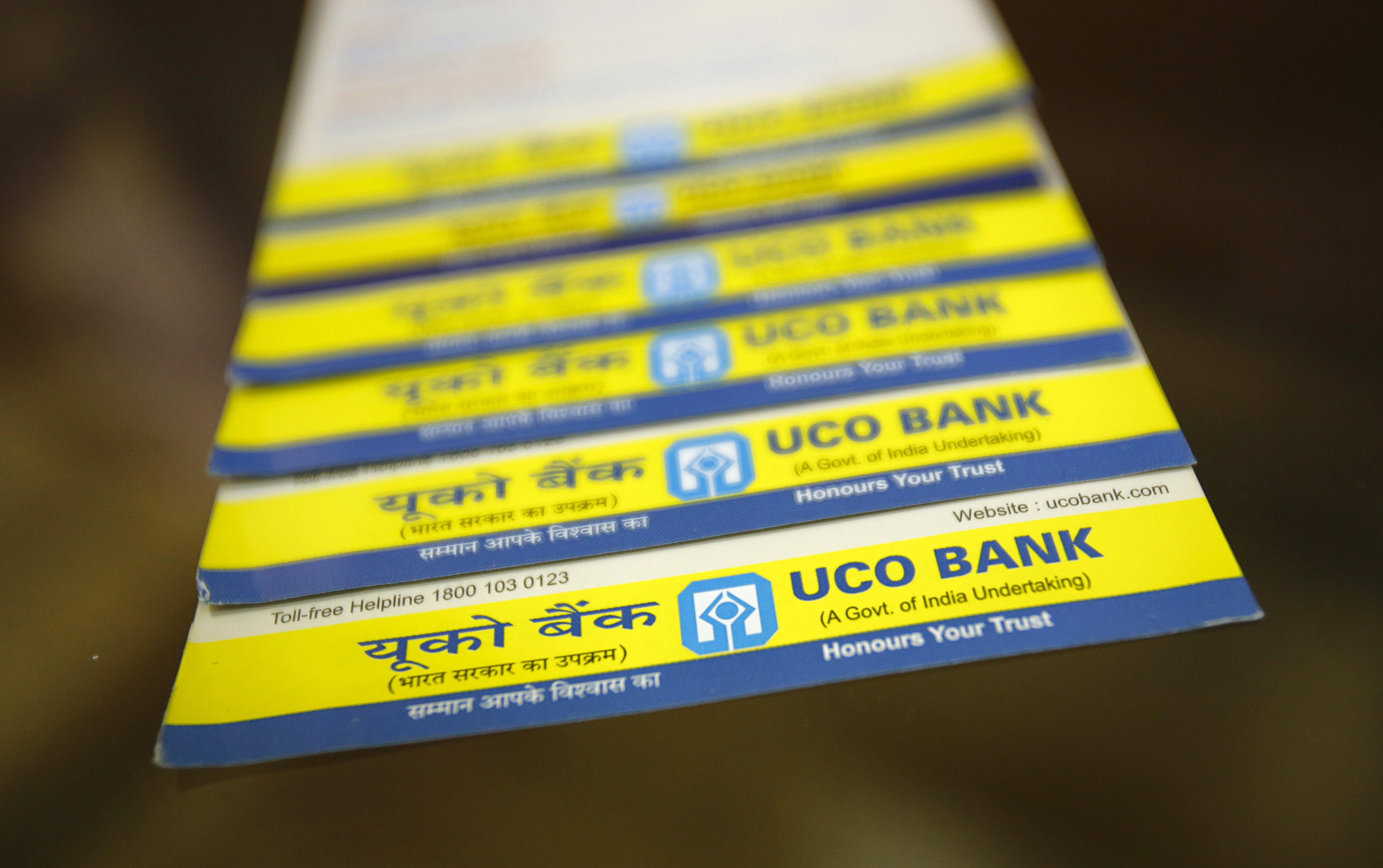 Leaflets advertising loans are pictured inside a commercial branch of the UCO Bank in Mumbai June 1, 2013. REUTERS/Vivek Prakash (INDIA - Tags: BUSINESS)