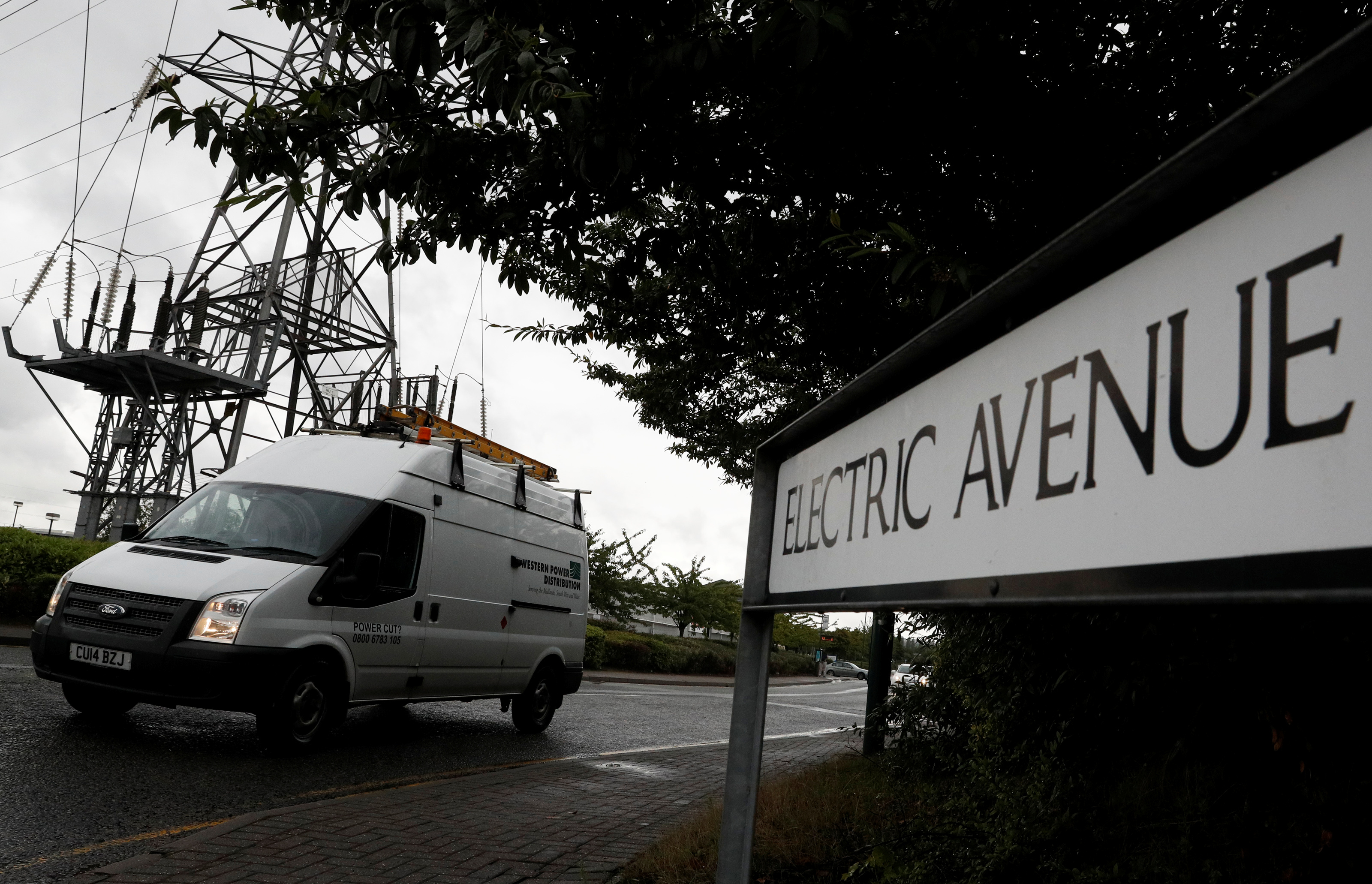 A Western Power Distribution van is driven along Electric Avenue in Nottingham, Britain August 8, 2017. REUTERS/Darren Staples
