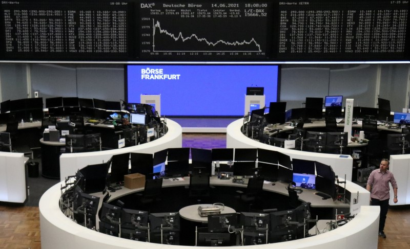 The German share price index DAX graph is pictured at the stock exchange in Frankfurt, Germany, June 14, 2021.    REUTERS/Staff/File photo