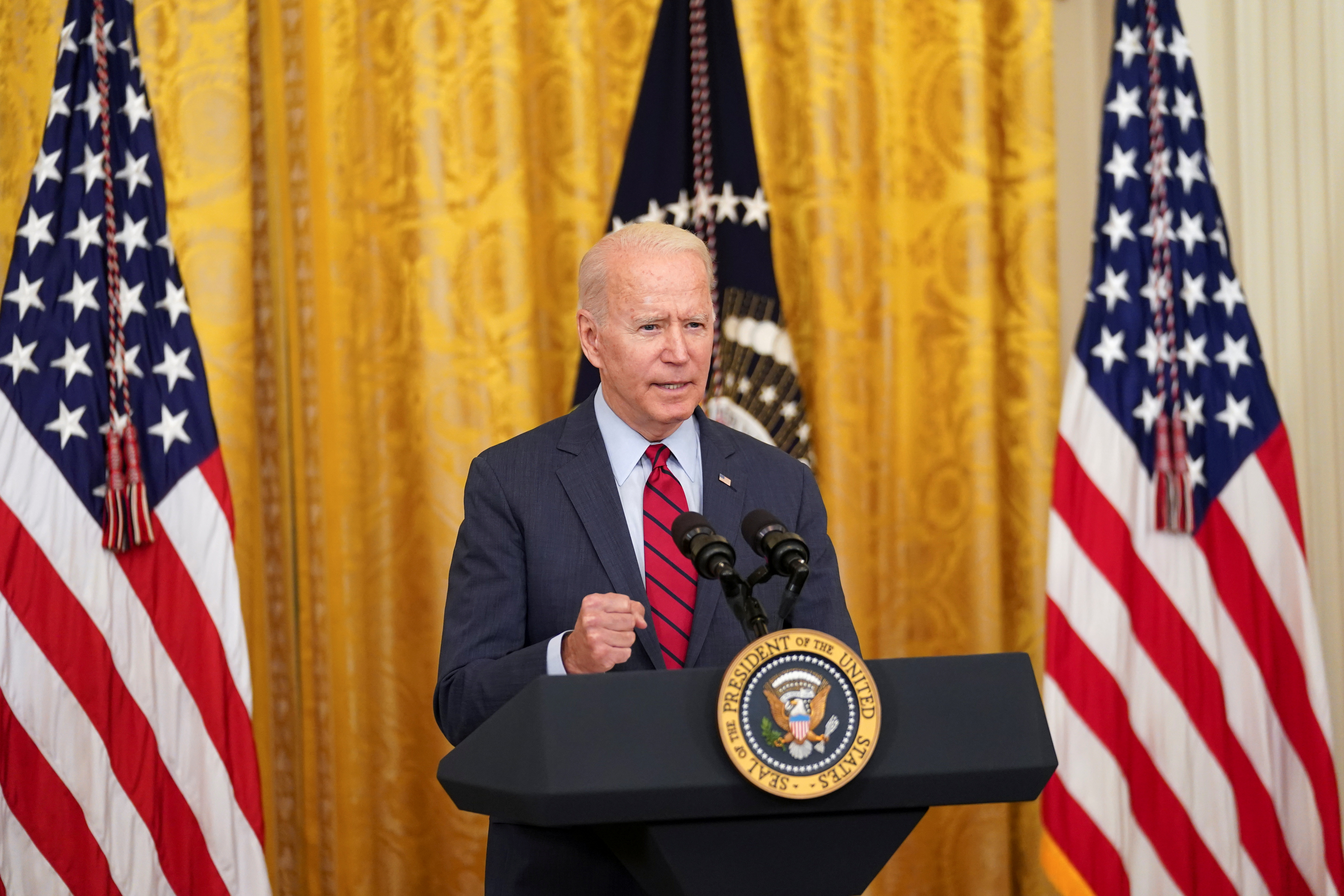 U.S. President Joe Biden delivers remarks on the bipartisan infrastructure deal in the East Room of the White House in Washington, U.S., June 24, 2021. REUTERS/Kevin Lamarque