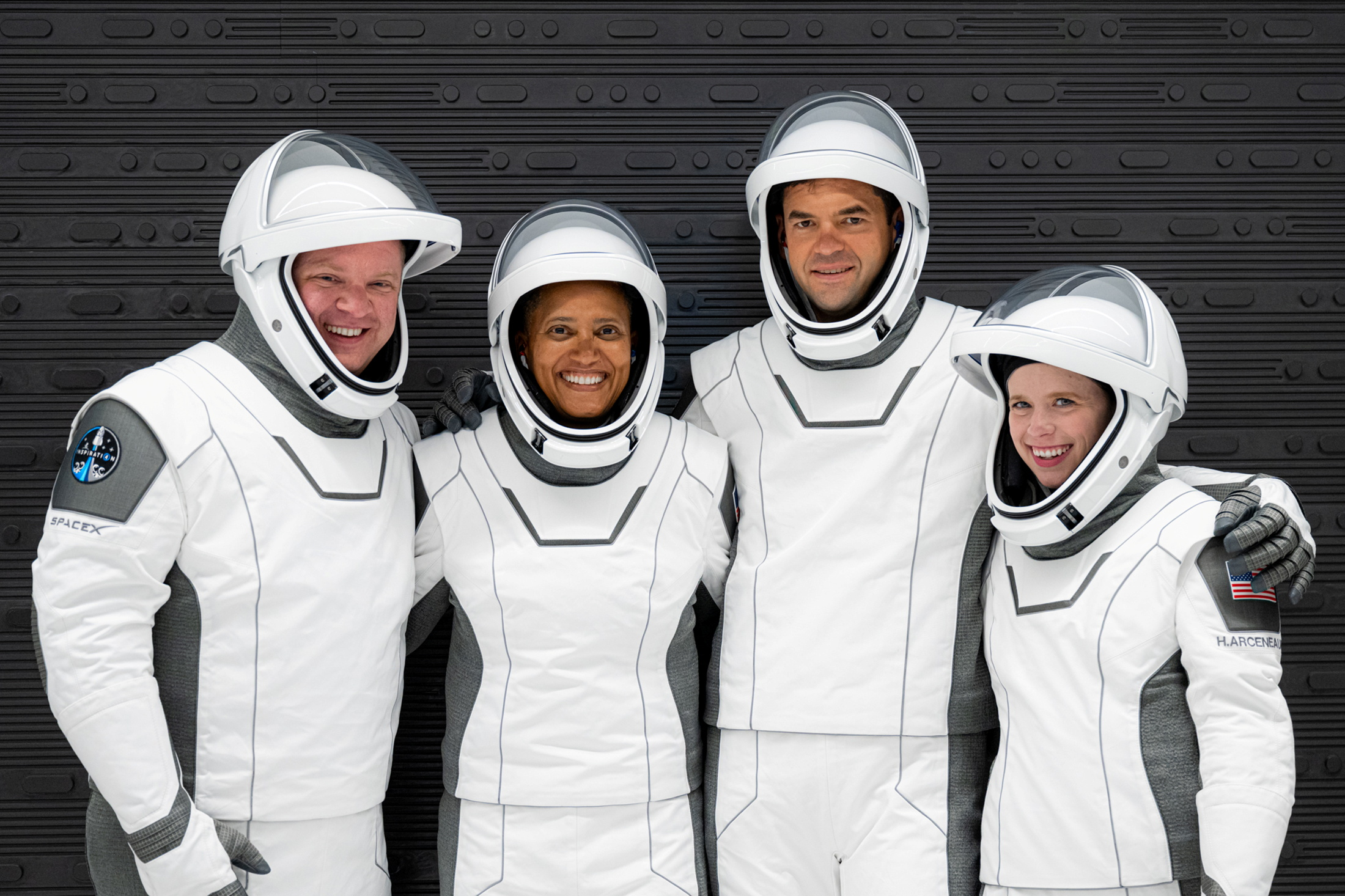 The Inspiration4 crew of Chris Sembroski, Sian Proctor, Jared Isaacman and Hayley Arceneaux poses while suited up for a launch rehearsal in Cape Canaveral, Florida September 12, 2021. Inspiration4/John Kraus/Handout via REUTERS