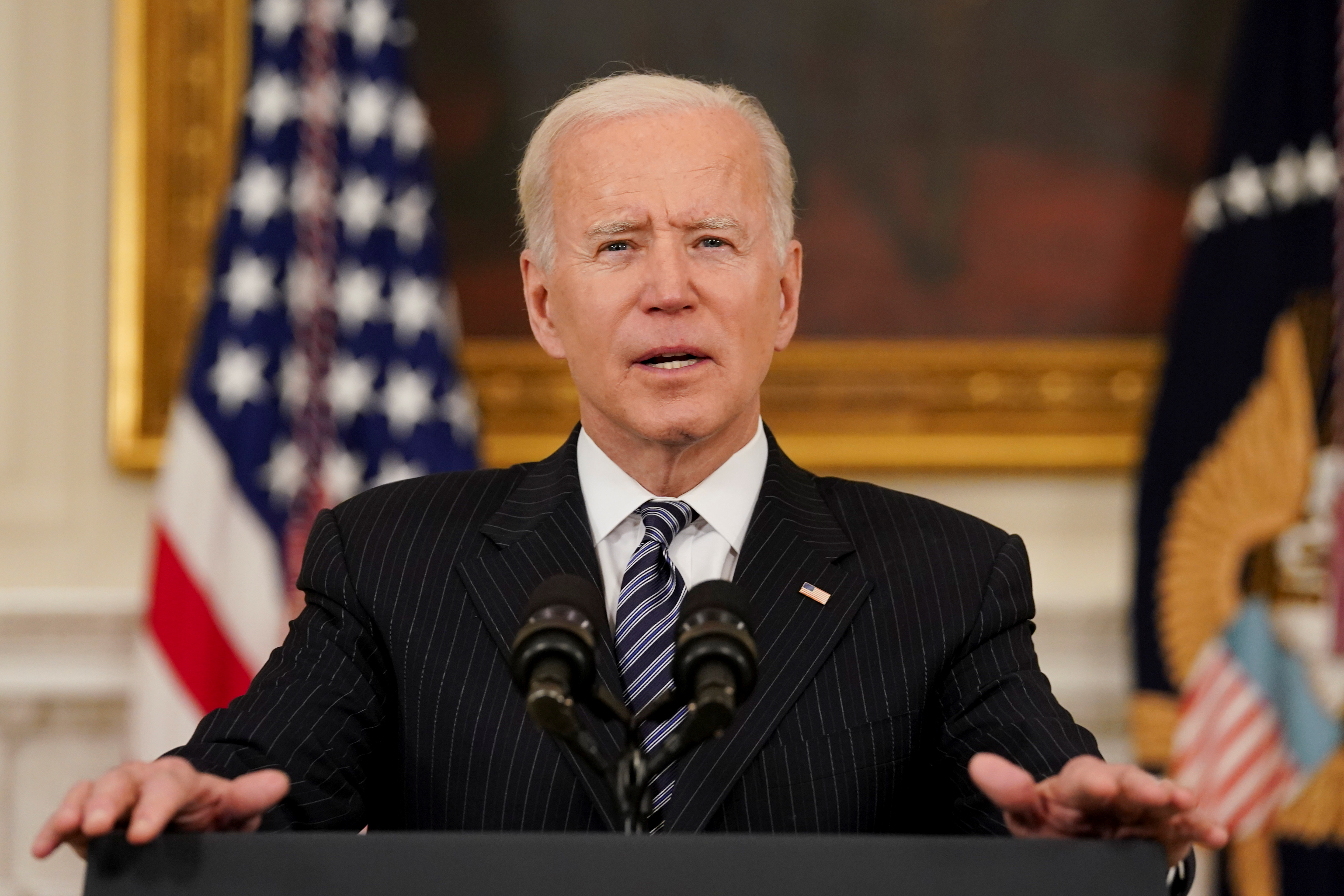U.S. President Joe Biden delivers remarks on the state of the coronavirus disease (COVID-19) vaccinations from the State Dining Room at the White House in Washington, D.C., U.S., April 6, 2021. REUTERS/Kevin Lamarque