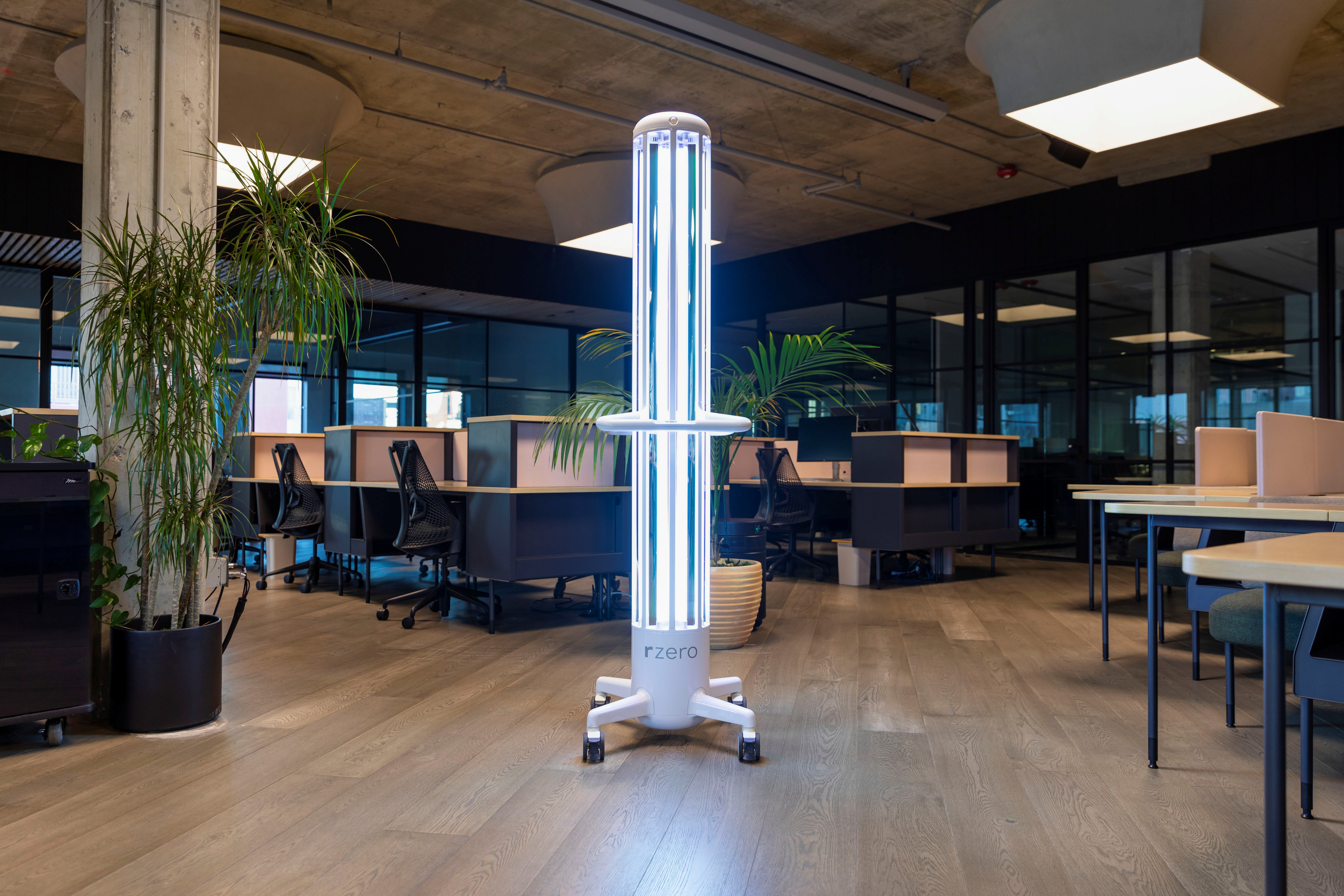 R-Zero?s UV-C light disinfection system, Arc, in seen at an office in San Francisco, U.S. May 2021. R-ZERO/Handout via REUTERS