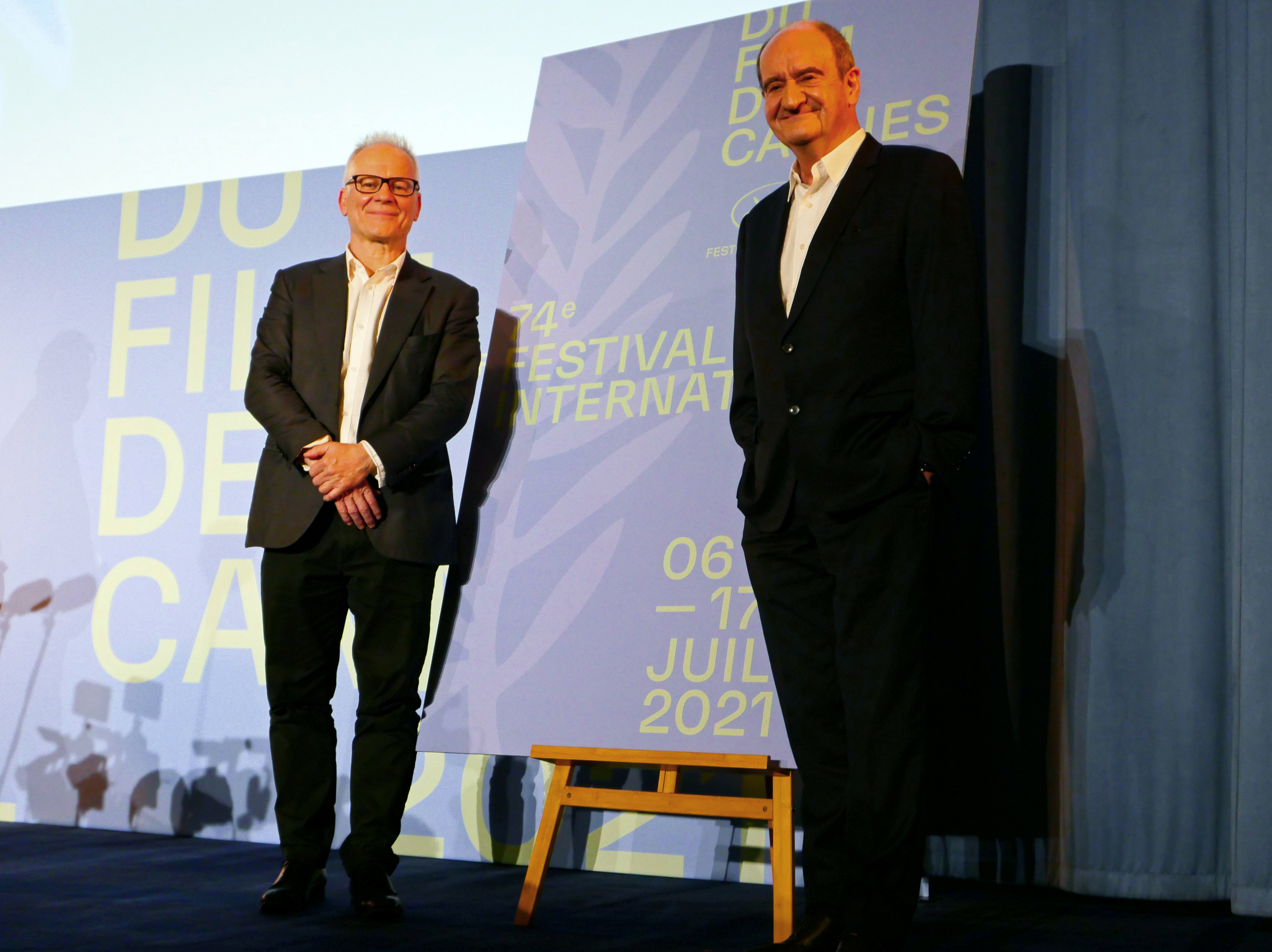 Cannes Film festival General Delegate Thierry Fremaux and Cannes Film festival President Pierre Lescure pose after the presentation of the official selection of the 74th Cannes International Film Festival in Paris, France, June 3, 2021.  REUTERS/Sandra Auger