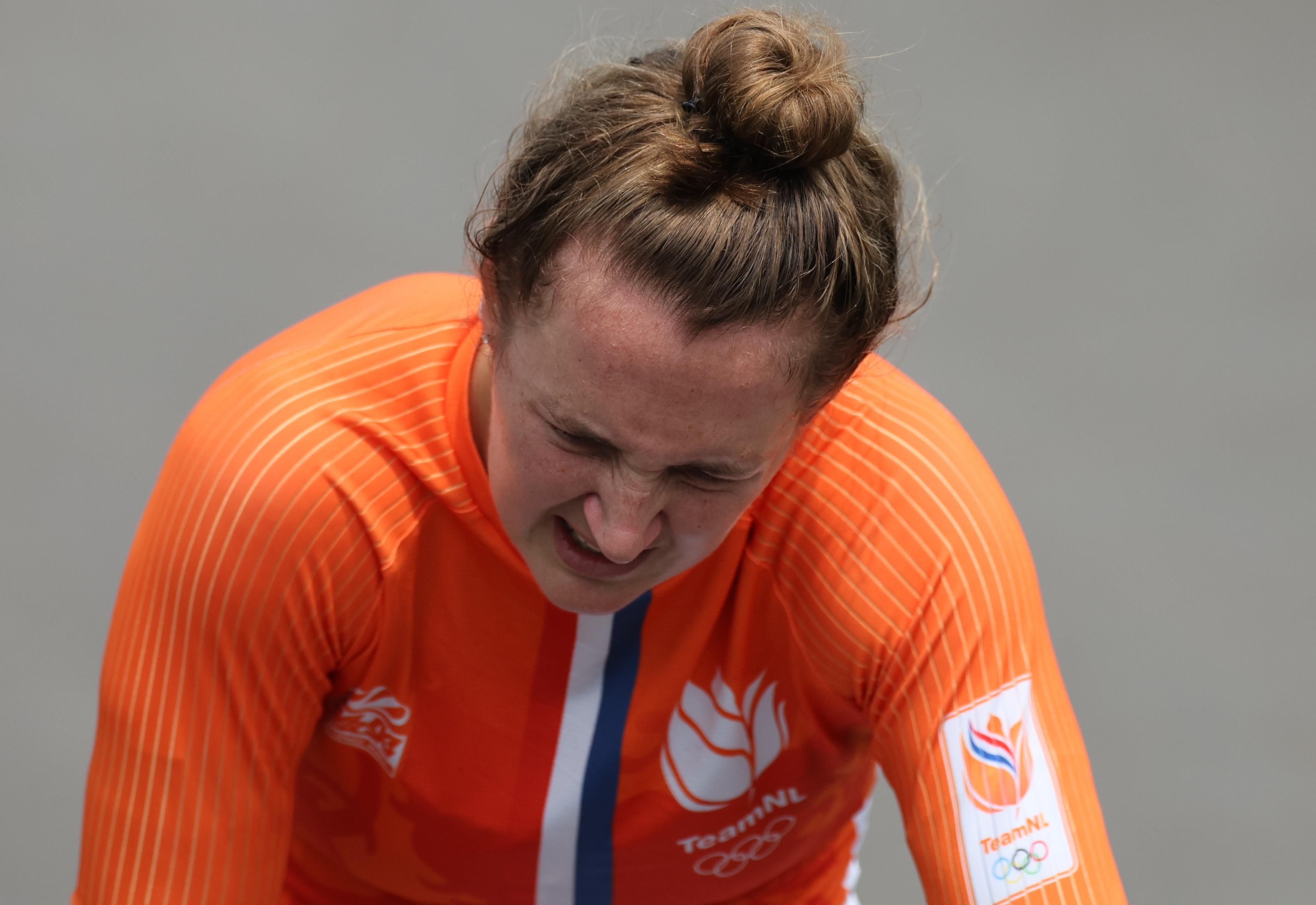 Tokyo 2020 Olympics - BMX Racing - Women's Individual - Semifinal - AUP - Ariake Urban Sports Park, Tokyo, Japan - July 30, 2021. Laura Smulders of the Netherlands reacts after the race. REUTERS/Christian Hartmann - SP1EH7U09PZLI