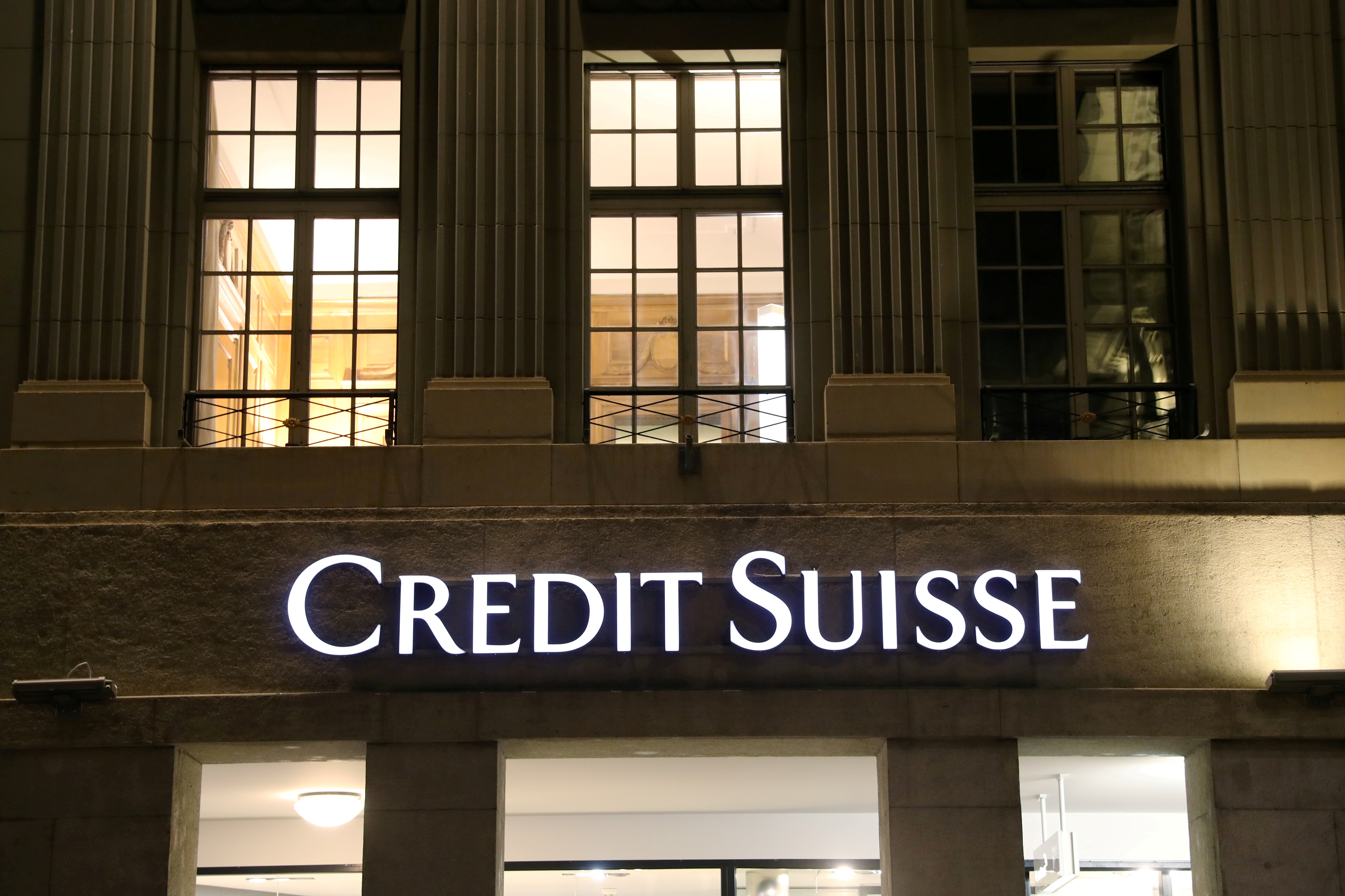 The logo of Swiss bank Credit Suisse is seen at a branch office in Bern, Switzerland October 28, 2020. REUTERS/Arnd Wiegmann/File Photo
