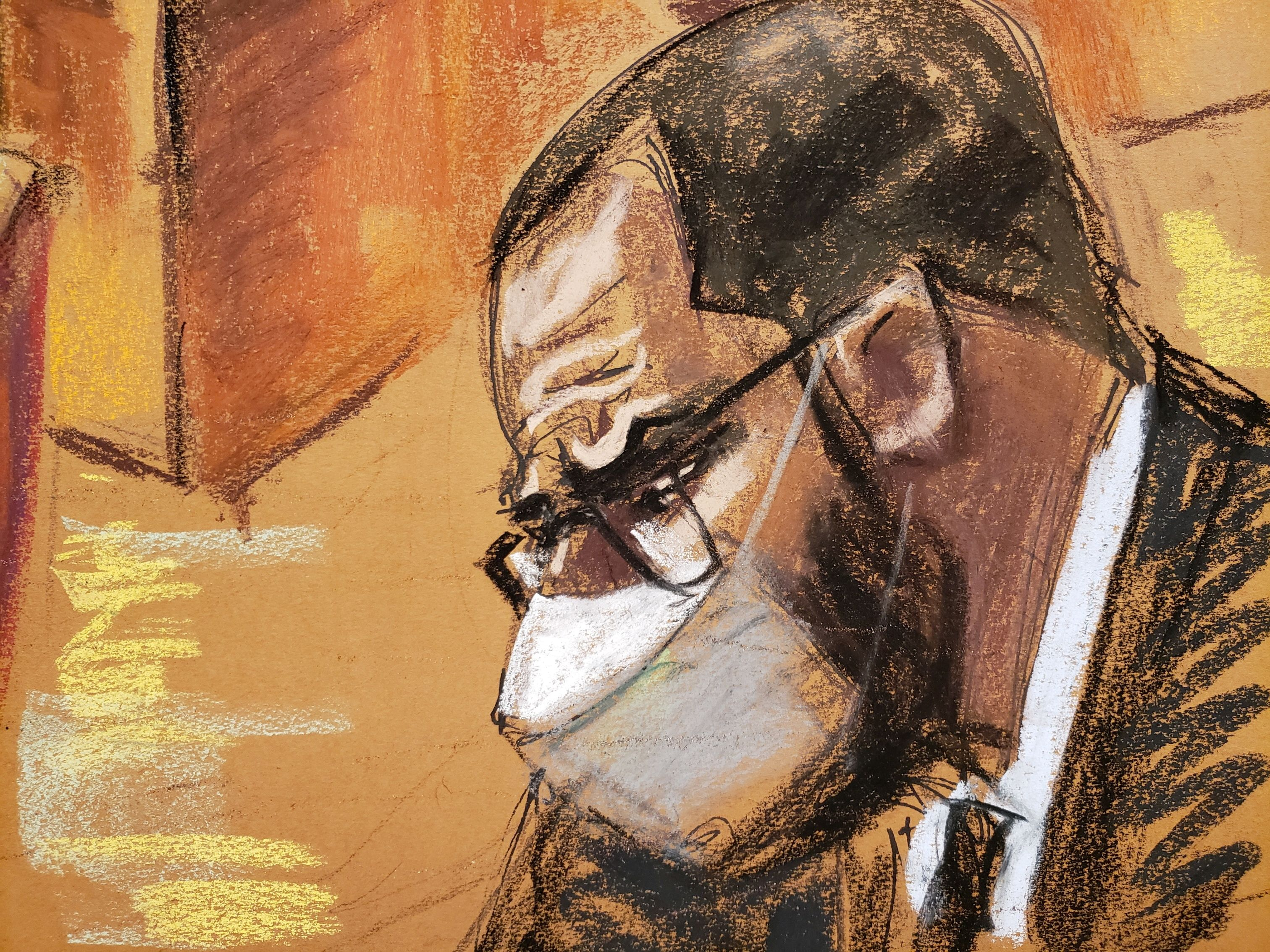 R. Kelly listens as Jeffrey Meeks testifies for the defense during Kelly's sex abuse trial at Brooklyn's Federal District Court in a courtroom sketch in New York, U.S., September 21, 2021. REUTERS/Jane Rosenberg