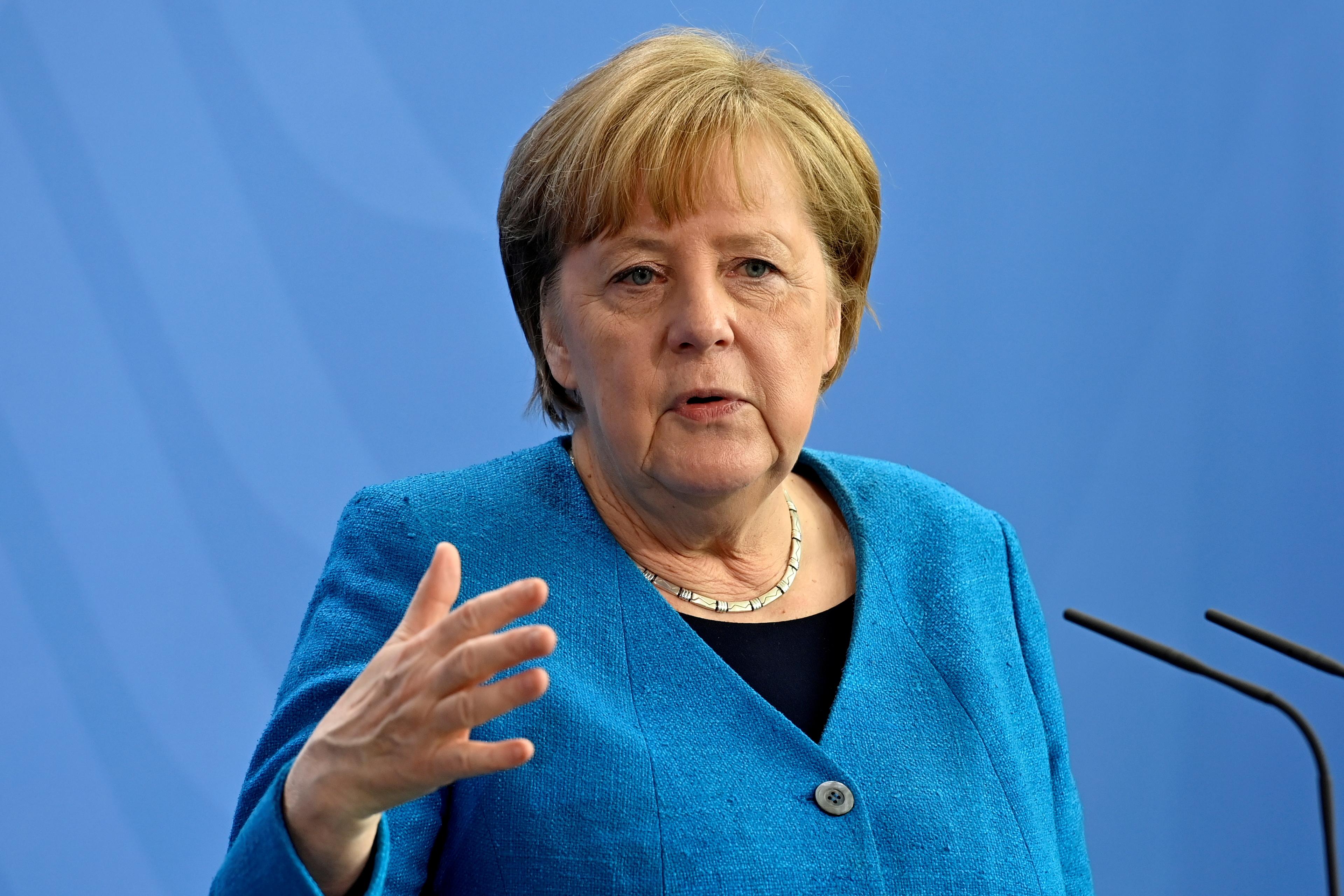 German Chancellor Angela Merkel in Berlin, Germany May 8, 2021. John MacDougall/Pool via REUTERS