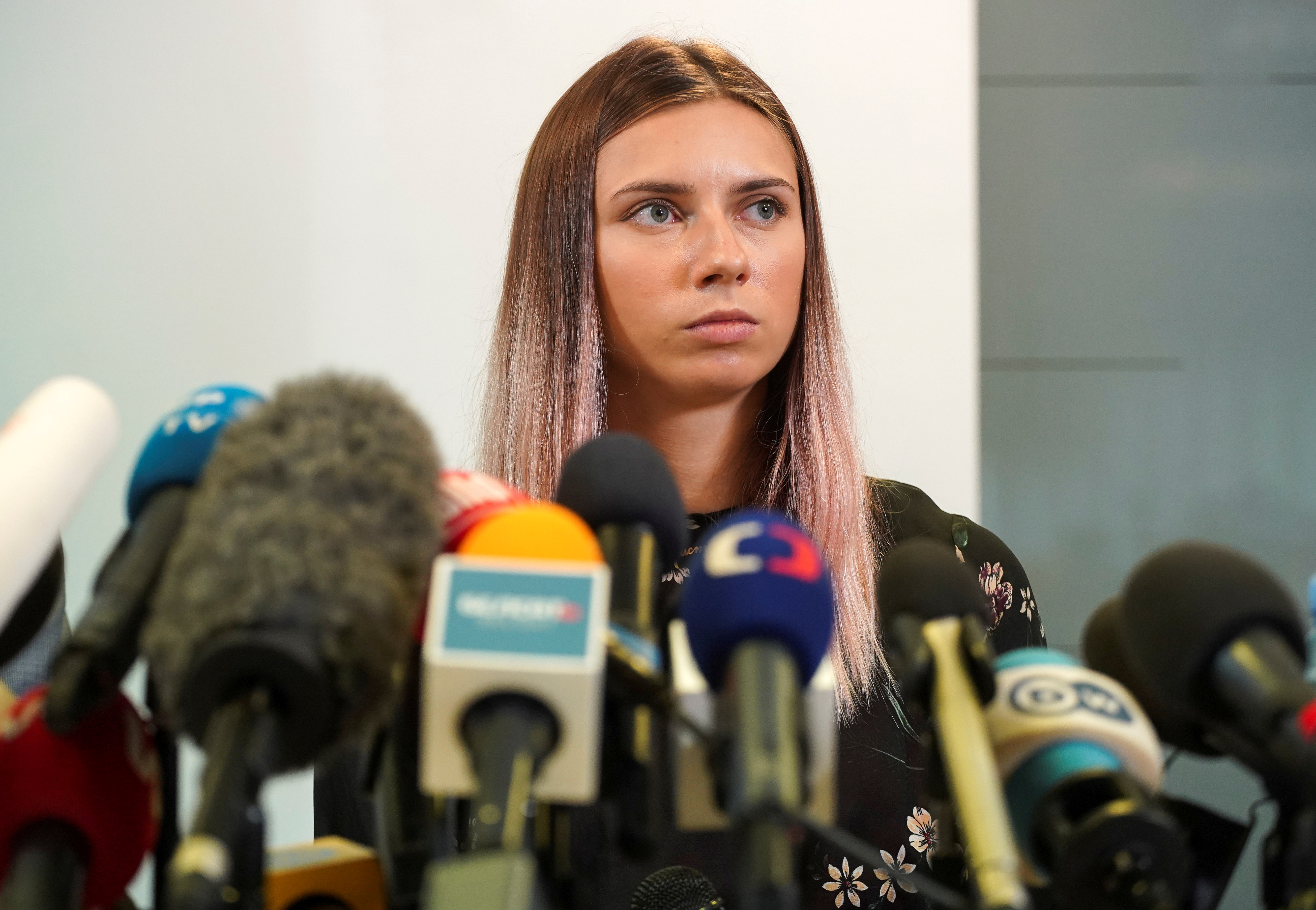 Belarusian sprinter Krystsina Tsimanouskaya, who left the Olympic Games in Tokyo and seeks asylum in Poland, attends a news conference in Warsaw, Poland August 5, 2021. REUTERS/Darek Golik