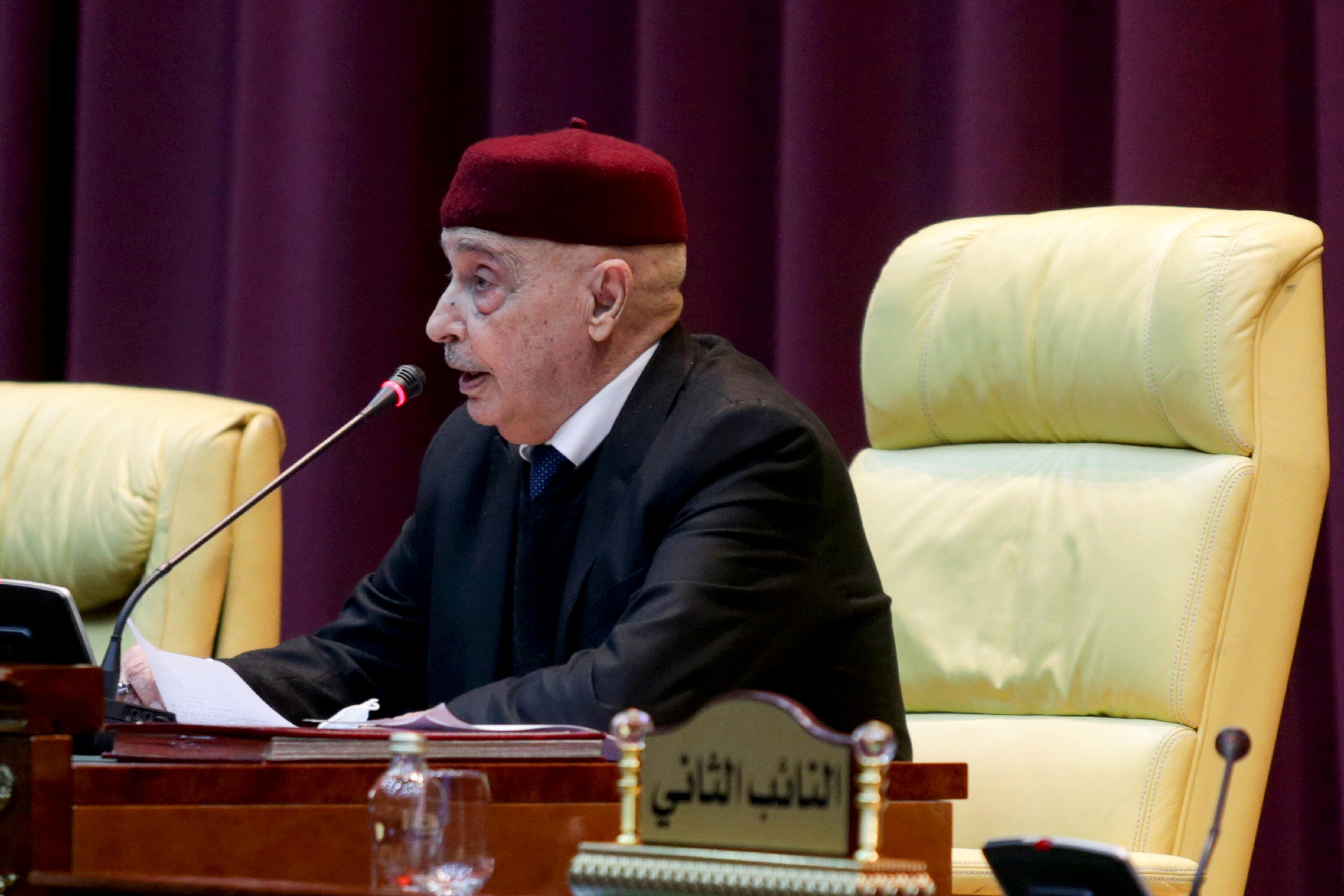 Parliament head Aguila Saleh attends a session to discuss approving new government, in Sirte, Libya March 8, 2021. REUTERS/Esam Omran Al-Fetori/File Photo
