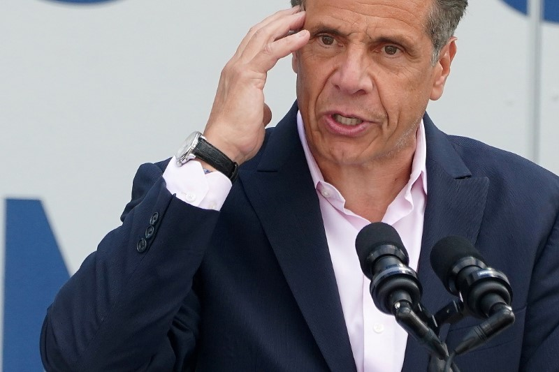 Governor of New York Andrew Cuomo speaks at the opening of Pier 76 park in the Manhattan borough of New York City, New York, U.S. June 9, 2021.  REUTERS/Carlo Allegri