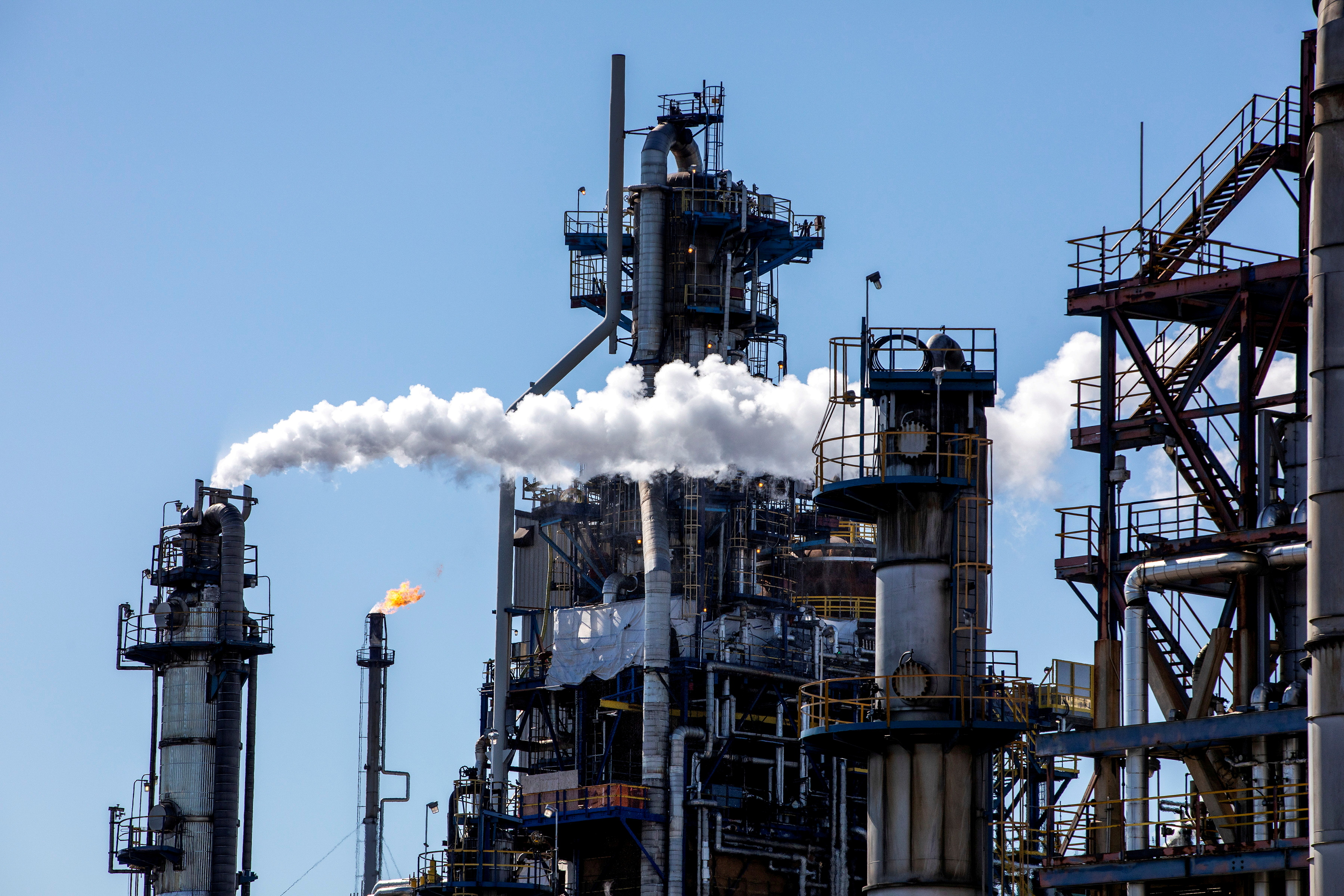 General view of the Imperial Oil refinery, located near Enbridge's Line 5 pipeline, which Michigan Governor Gretchen Whitmer ordered shut down in May 2021, in Sarnia, Ontario, Canada March 20, 2021. Picture taken March 20, 2021. REUTERS/Carlos Osorio/File Photo/File Photo