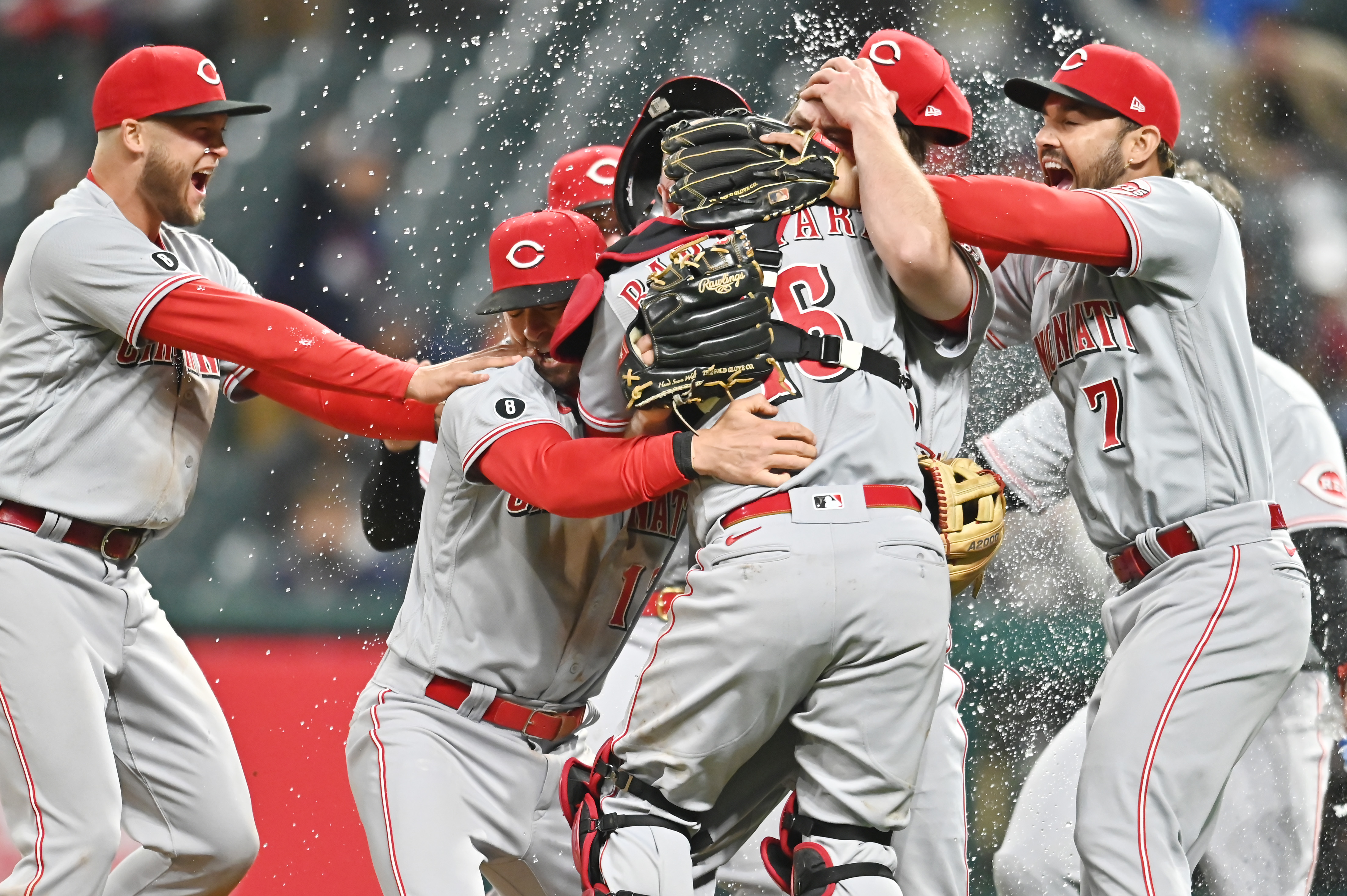 May 7, 2021; Cleveland, Ohio, USA; The Cincinnati Reds celebrate with pitcher Wade Miley (22) after Miley threw a no-hitter against the Cleveland Indians at Progressive Field. Mandatory Credit: Ken Blaze-USA TODAY Sports