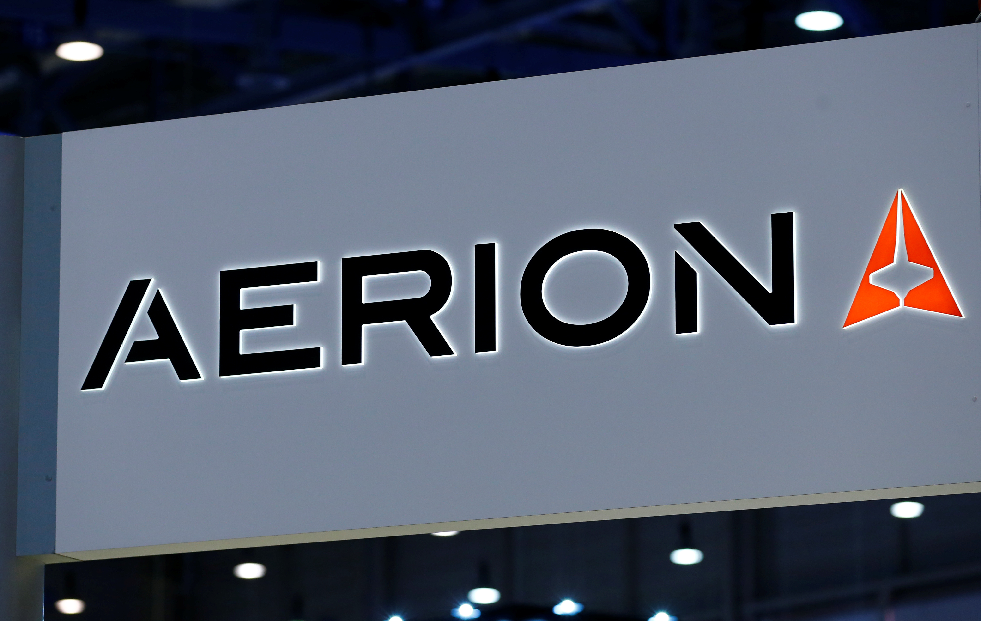 A logo of supersonic jet maker Aerion Corporation is pictured on their booth during the European Business Aviation Convention & Exhibition (EBACE) in Geneva, Switzerland, May 22, 2017.  REUTERS/Denis Balibouse