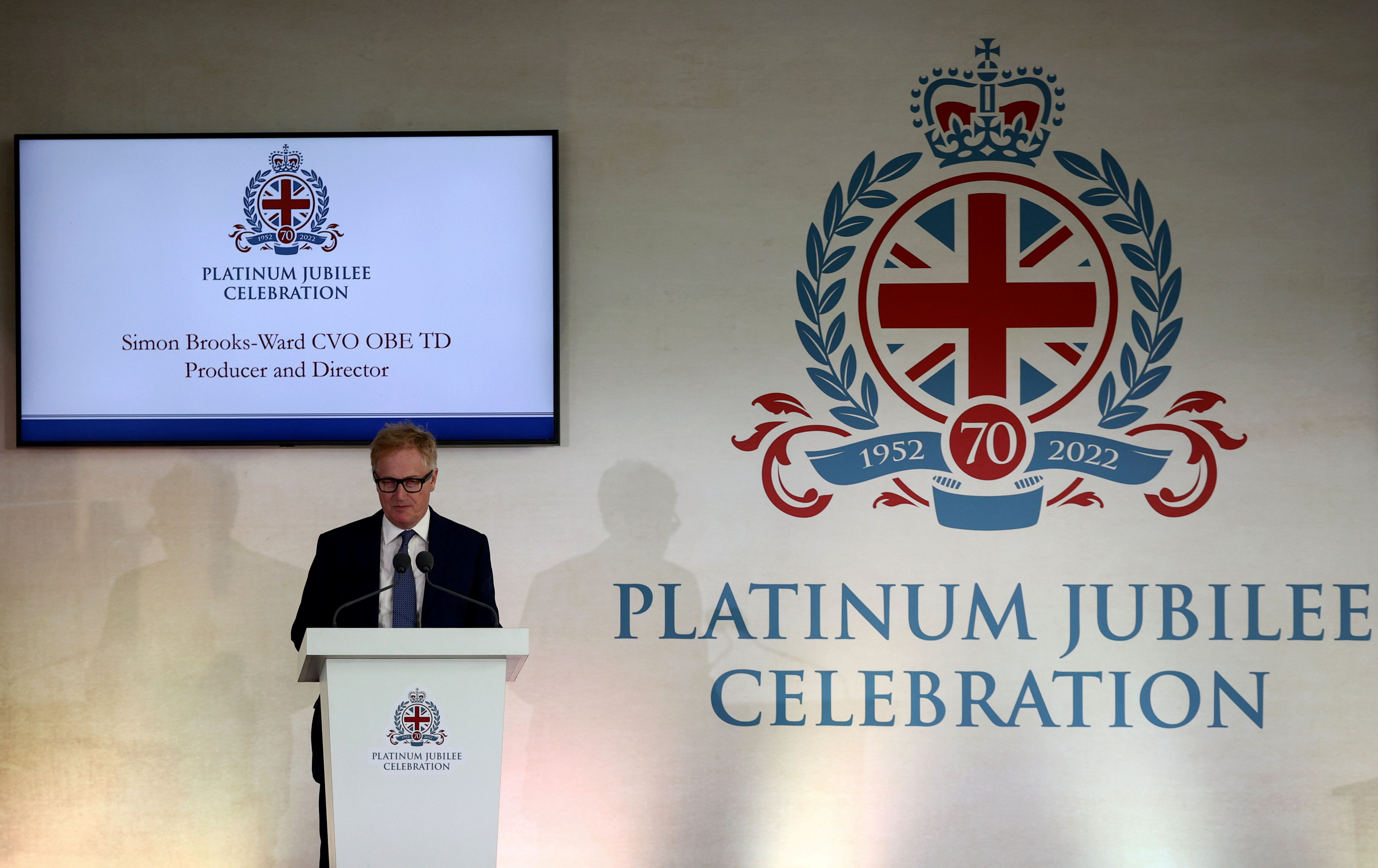 Simon Brooks-Ward, CVO OBE TD Producer and Director, speaks during the media preview of the 'Platinum Jubilee Celebration: A Gallop Through History' at Buckingham Palace in London, Britain, September 21, 2021. REUTERS/Hannah McKay