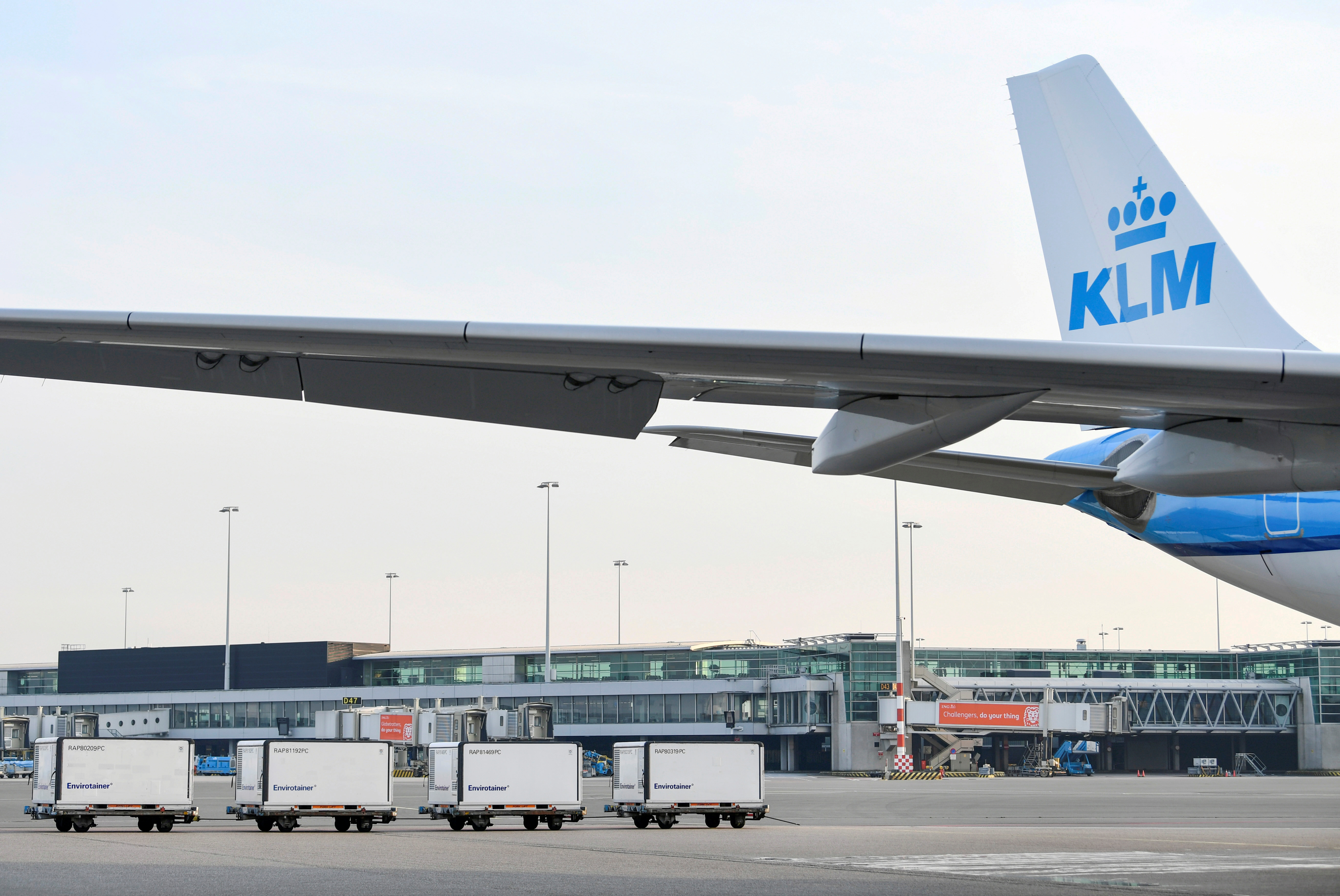 Cool boxes are seen at the Schiphol Airport as Air France-KLM prepares for a massive logistical operation carrying new vaccines and vaccine candidates for COVID-19 through Amsterdam