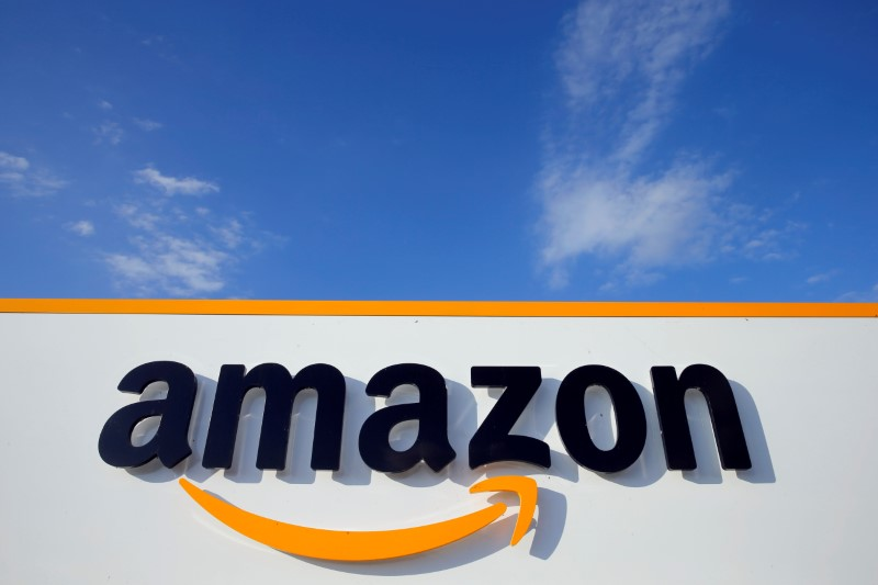 The logo of Amazon is seen at the company logistics centre in Boves, France, August 8, 2018. REUTERS/Pascal Rossignol