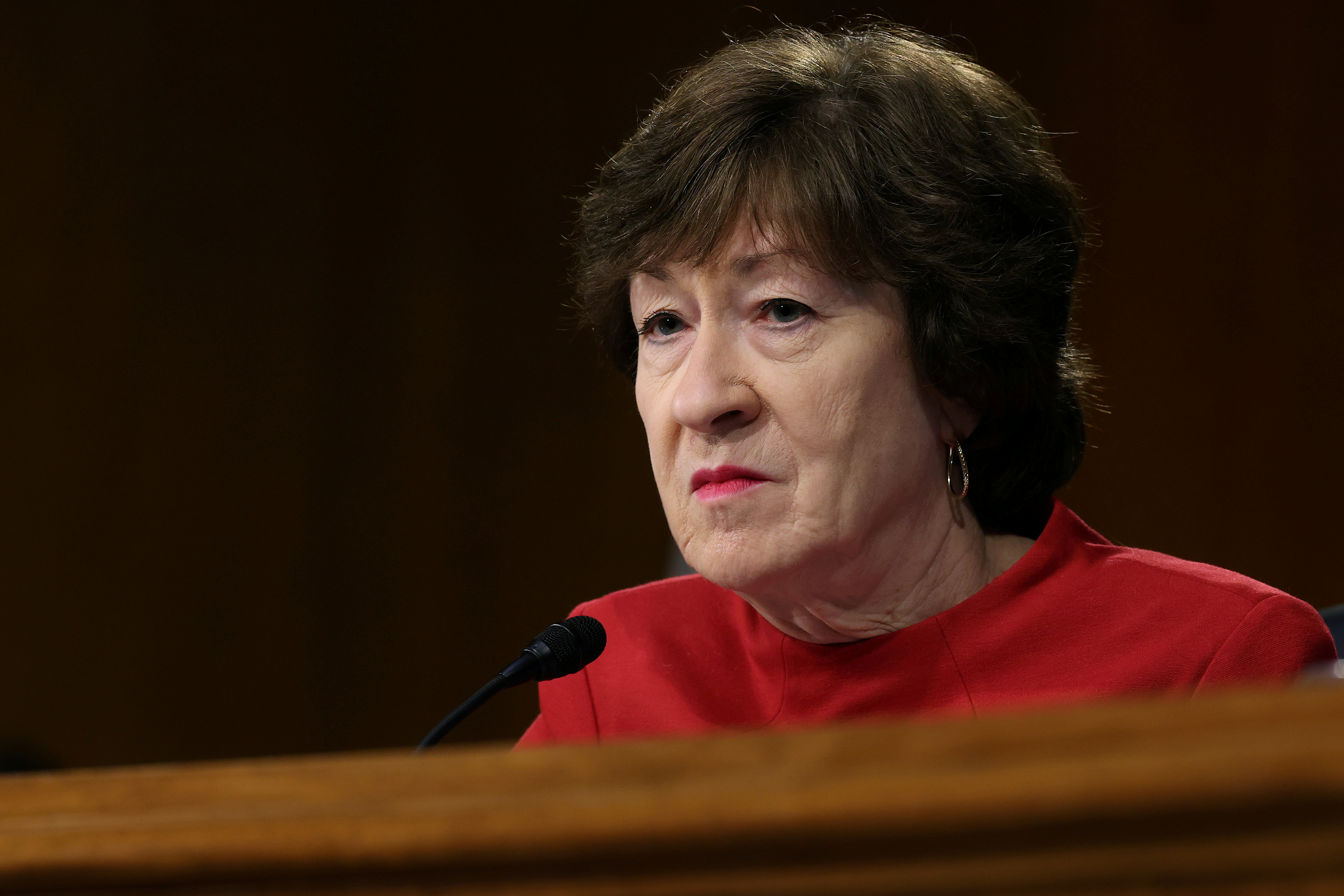 Senate Appropriations Committee member Sen. Susan Collins (R-ME) listens to testimony from members of the Biden administration during a hearing in the Dirksen Senate Office Building on Capitol Hill in Washington, D.C., U.S., April 20, 2021. Chip Somodevilla/Pool via REUTERS/File Photo