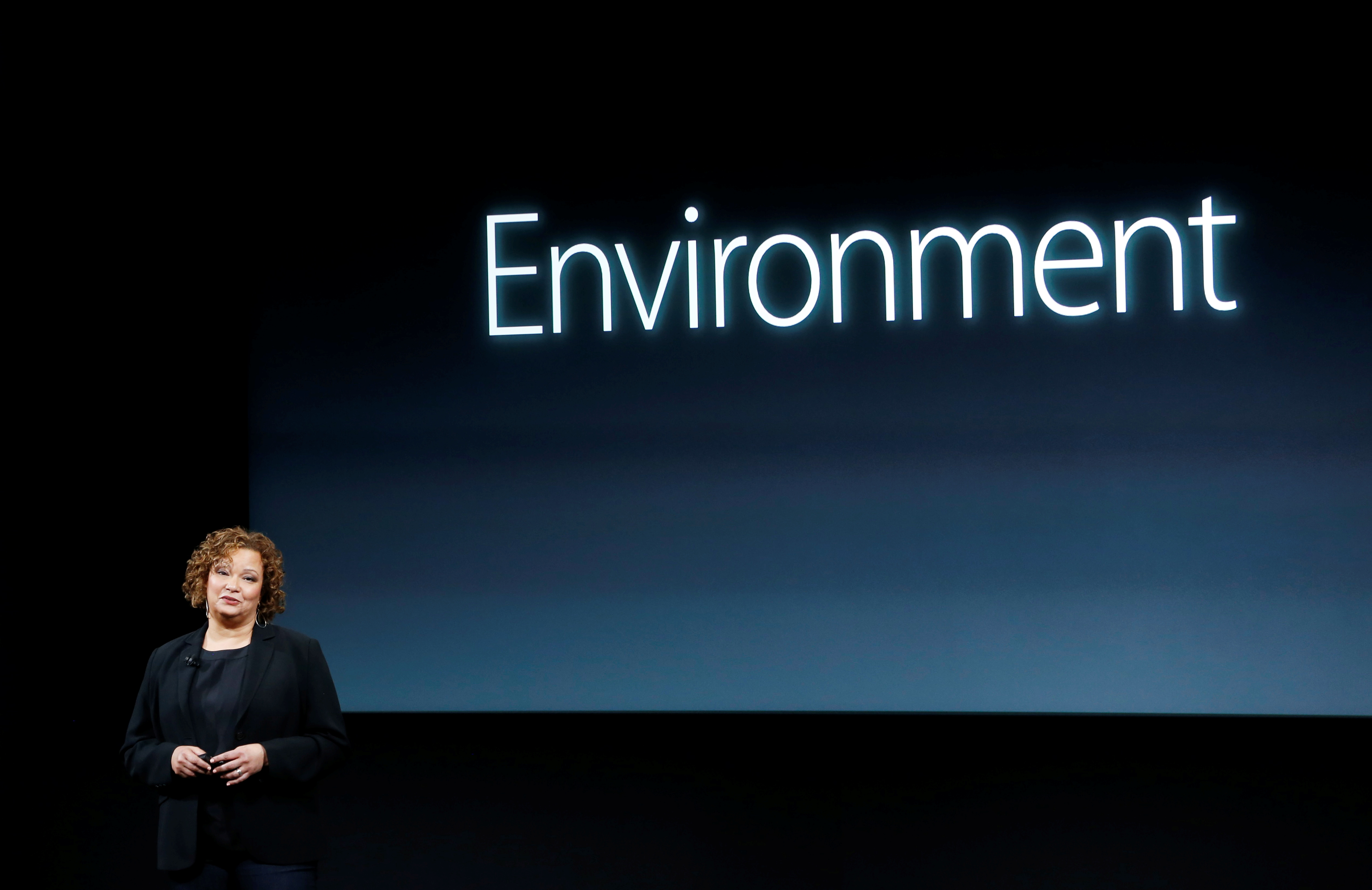 Lisa Jackson, Apple vice president for Environment, Policy and Social Initiatives, speaks during an event at Apple headquarters in Cupertino, California March 21, 2016.  REUTERS/Stephan Lam/File Photo