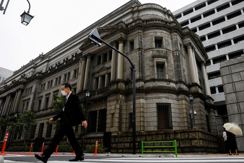 A man wearing a protective mask walks past the headquarters of the Bank of Japan amid the coronavirus disease (COVID-19) outbreak in Tokyo, Japan, May 22, 2020. REUTERS/Kim Kyung-Hoon/File Photo