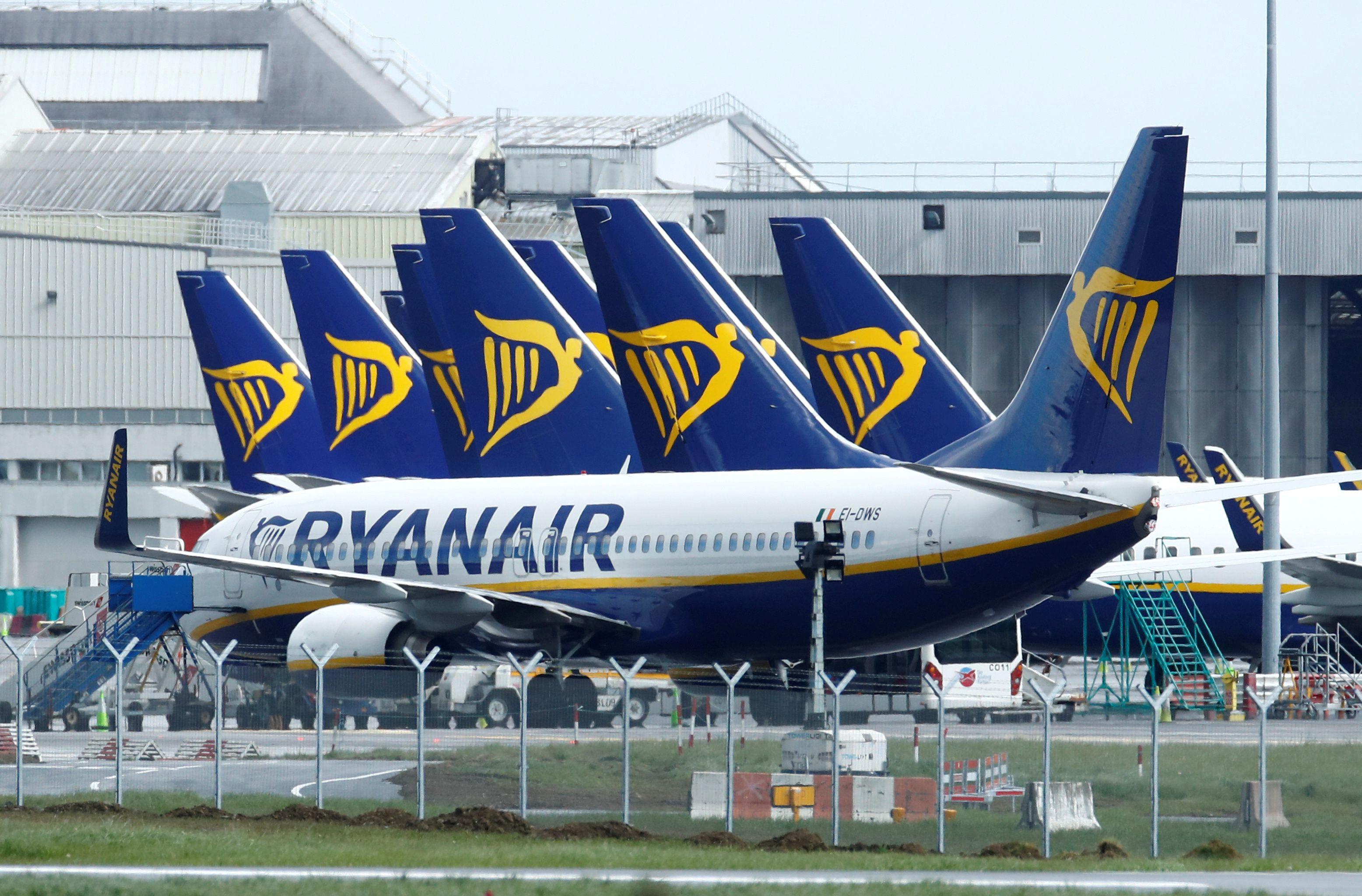 Ryanair planes at Dublin Airport after the outbreak of the coronavirus disease (COVID-19), Dublin, Ireland, May 1, 2020. REUTERS/Jason Cairnduff/File Photo