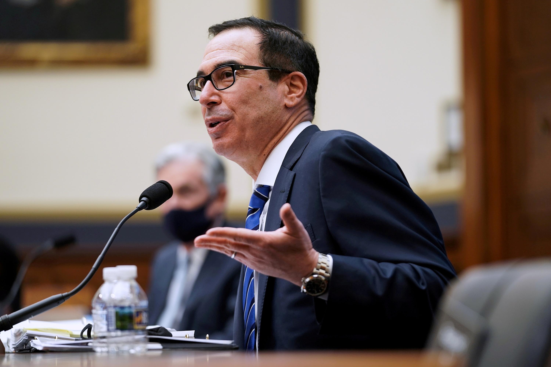 U.S. Treasury Secretary Steven Mnuchin speaks during a House Financial Services Committee hearing in Washington, December 2, 2020. Greg Nash/Pool via REUTERS/File Photo