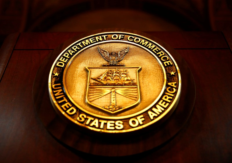 The seal of the Department of Commerce is pictured in Washington, D.C., U.S. March 10, 2017. REUTERS/Eric Thayer/Files