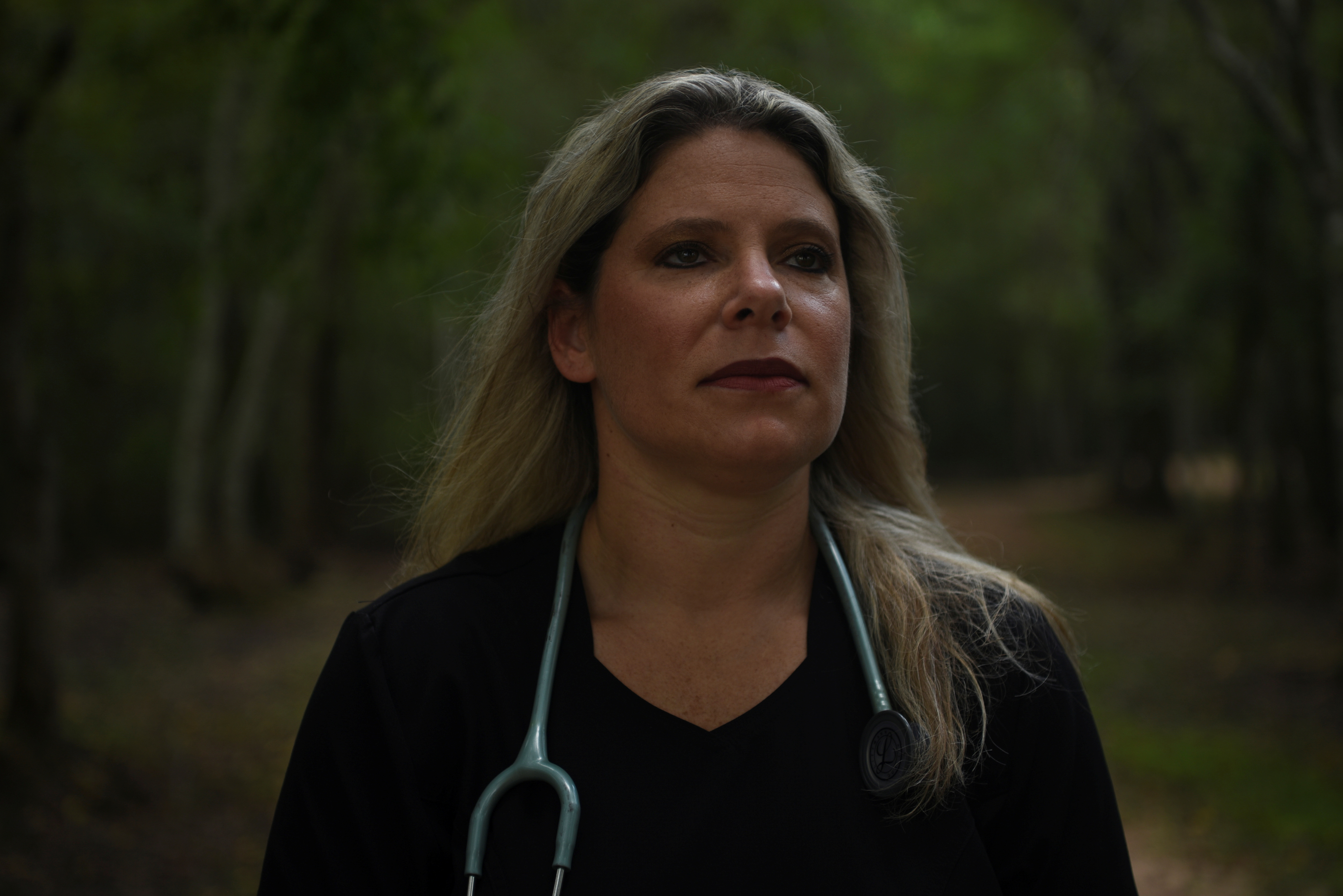 Jennifer Bridges, 39, an RN who was fired from her job after refusing the coronavirus disease (COVID-19) vaccine, poses for a portrait at Jenkins Park in Baytown, Texas, U.S., September 30, 2021. Picture taken September 30, 2021.  REUTERS/Callaghan O'Hare