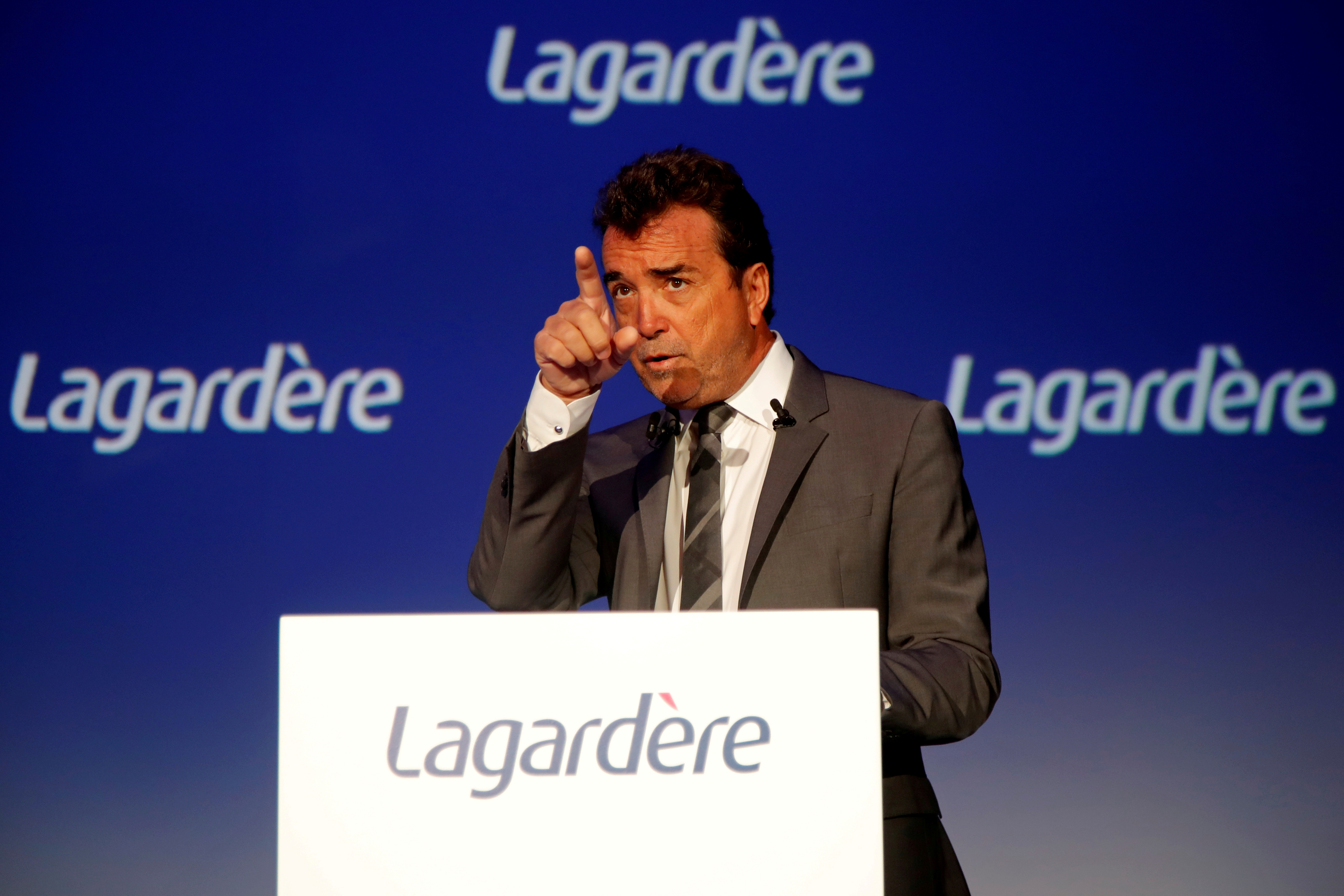 Arnaud Lagardere, the head of French media group Lagardere, attends the group's shareholders meeting in Paris, France, May 3, 2018. REUTERS/Charles Platiau