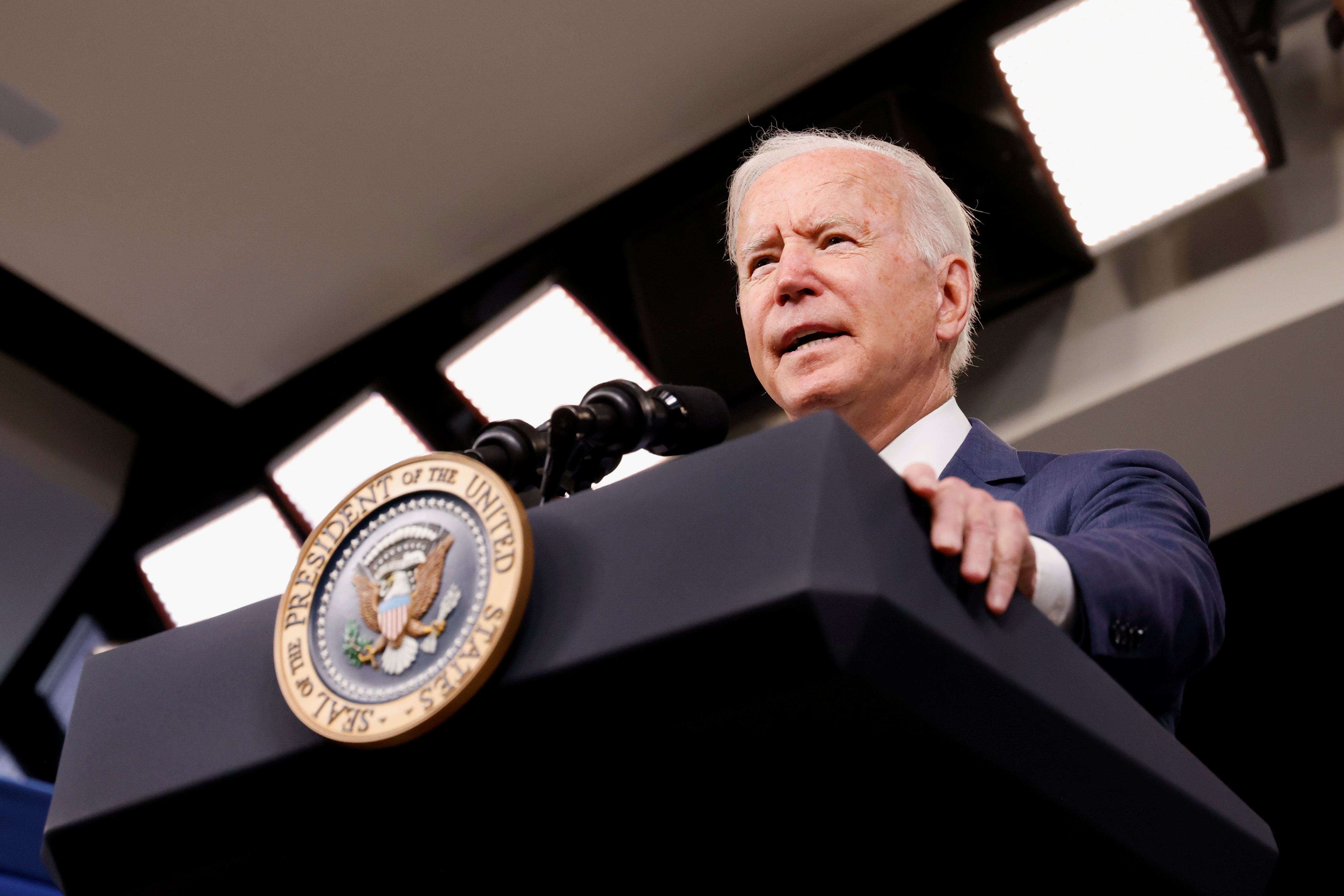 U.S. President Joe Biden delivers remarks on response in the aftermath of Hurricane Ida from the Eisenhower Executive Office Building on the White House campus in Washington, U.S. September 2, 2021. REUTERS/Jonathan Ernst