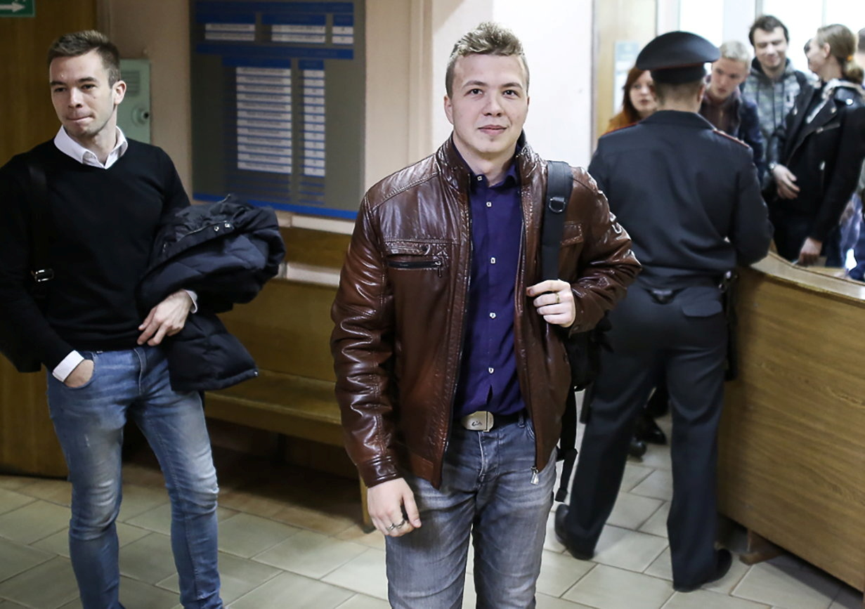 Opposition blogger and activist Roman Protasevich, who is accused of participating in an unsanctioned protest at the Kuropaty preserve, arrives for a court hearing in Minsk, Belarus April 10, 2017. REUTERS/Stringer