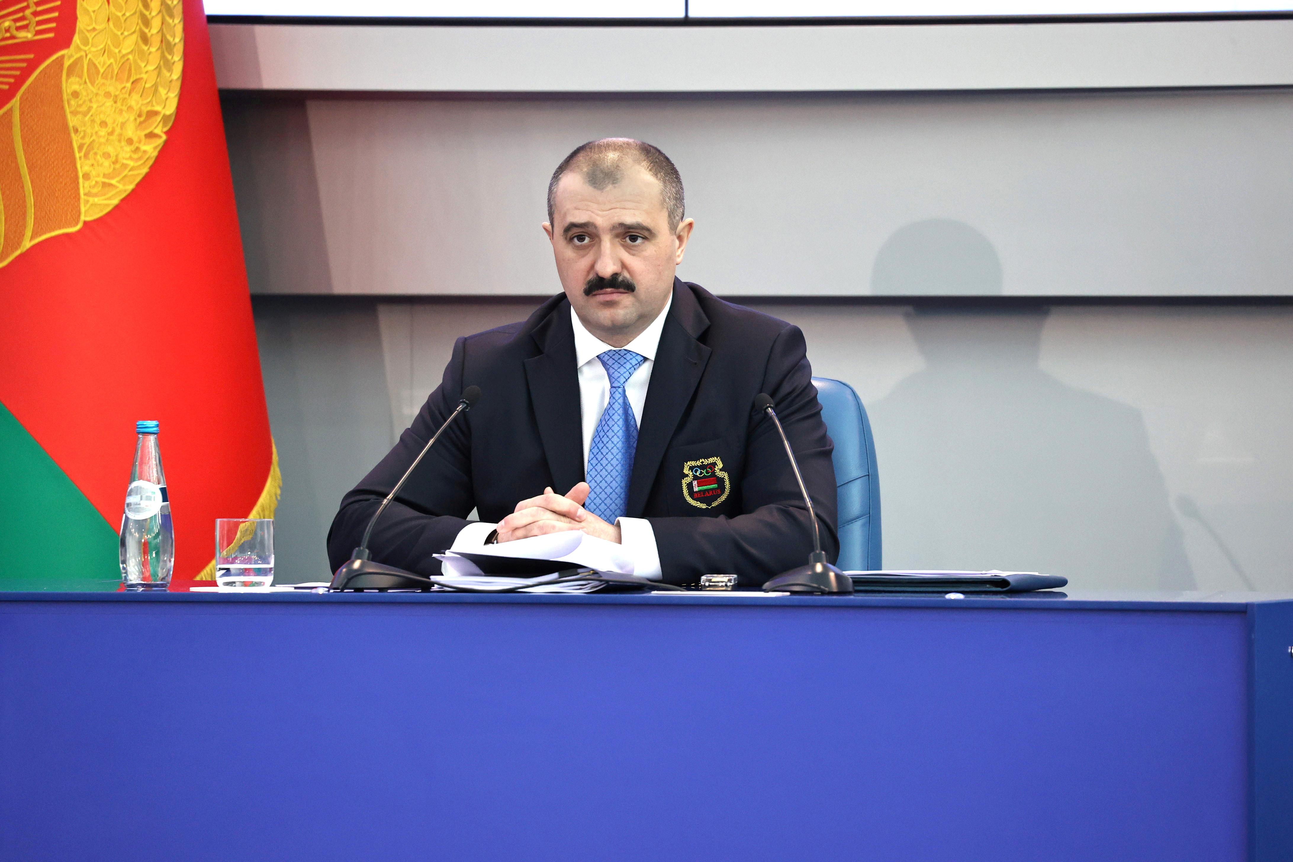 Newly-appointed head of the Belarusian Olympic Committee Viktor Lukashenko attends a meeting in Minsk, Belarus February 26, 2021. Sergei Sheleg/BelTA/Handout via REUTERS/File Photo