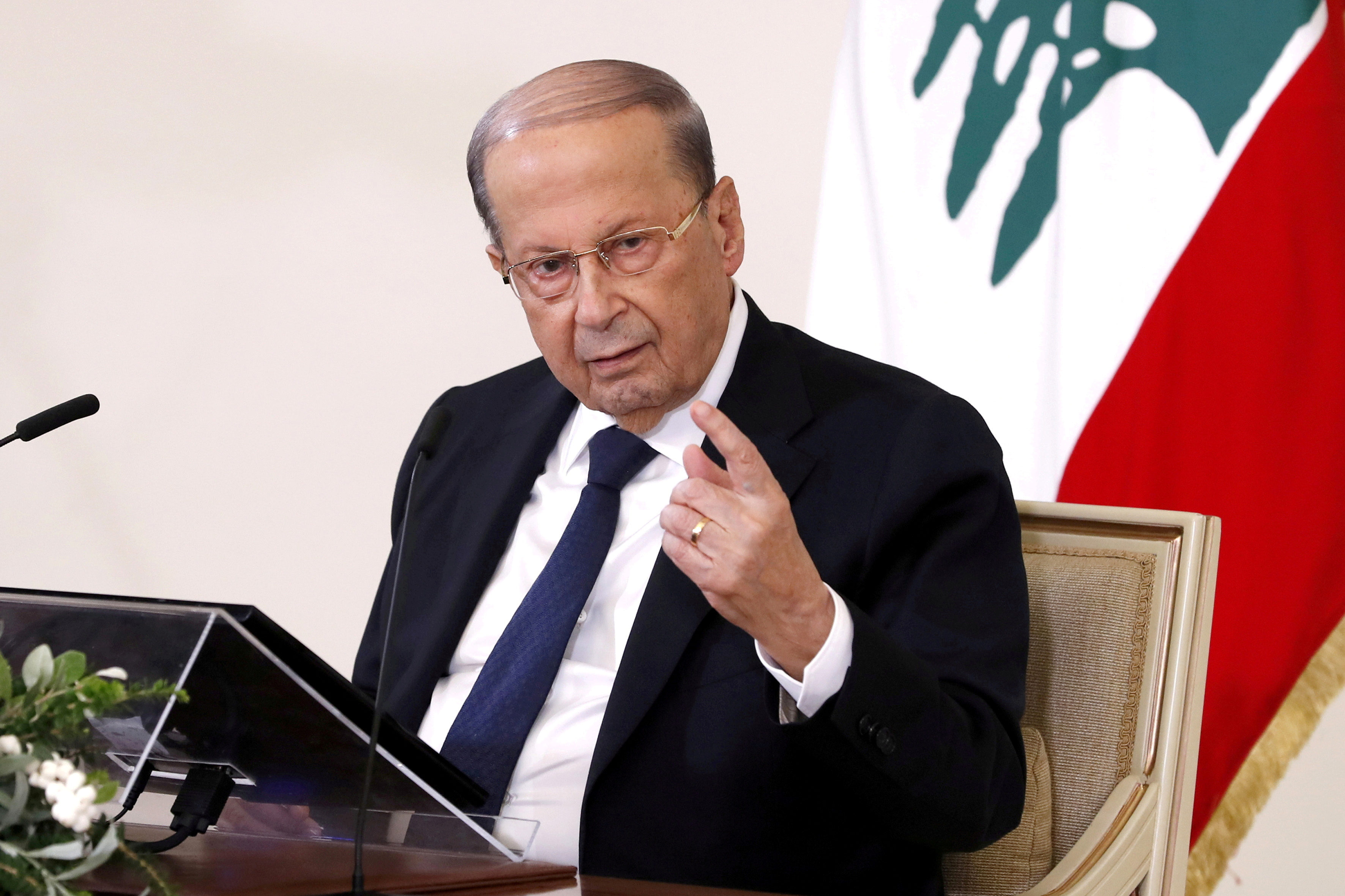 Lebanon's President Michel Aoun speaks during a news conference at the presidential palace in Baabda, Lebanon October 21, 2020. Dalati Nohra/Handout via REUTERS