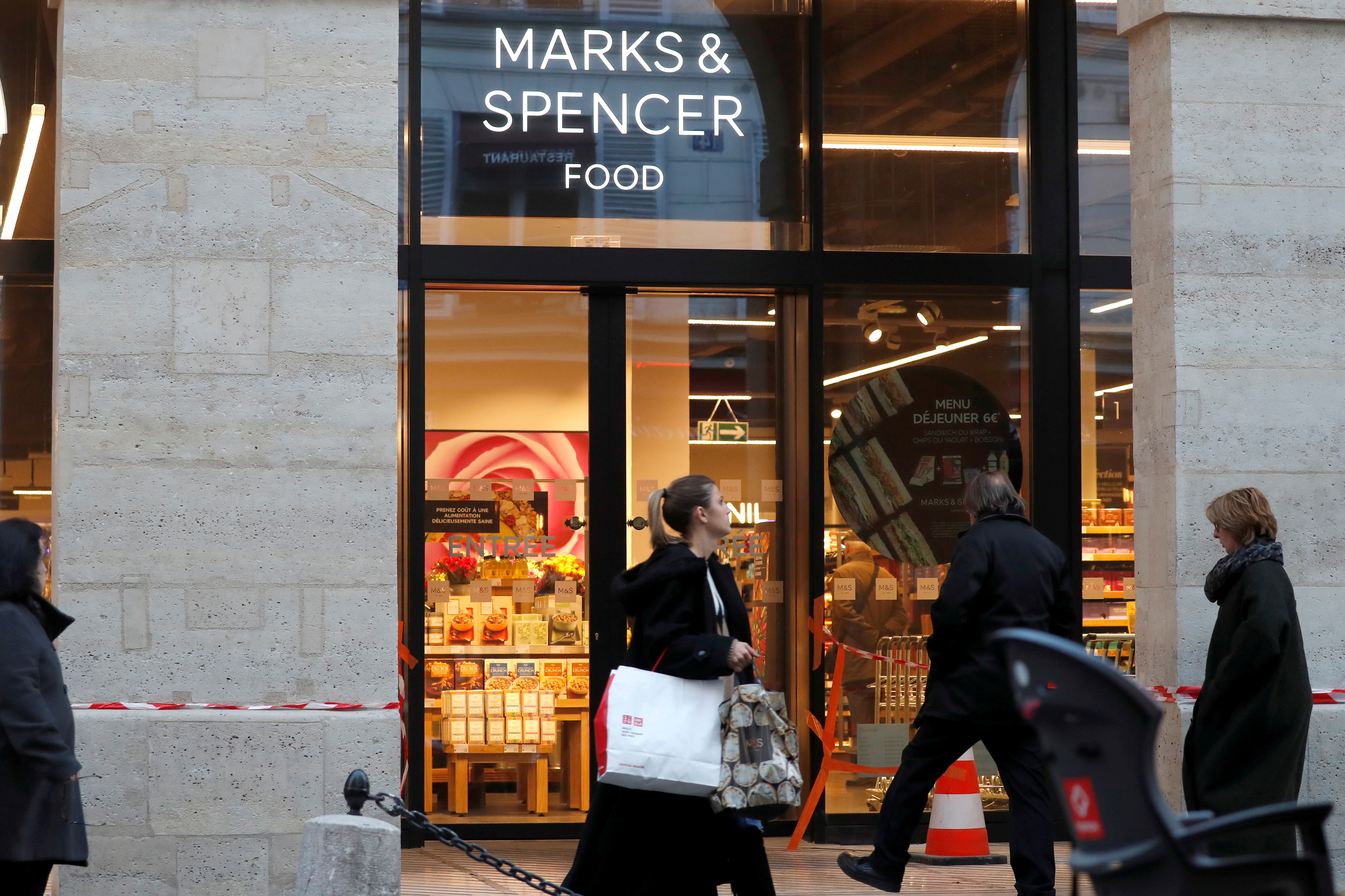The logo of Marks & Spencer is seen in front of a store in Paris, France, January 5, 2017. REUTERS/Charles Platiau