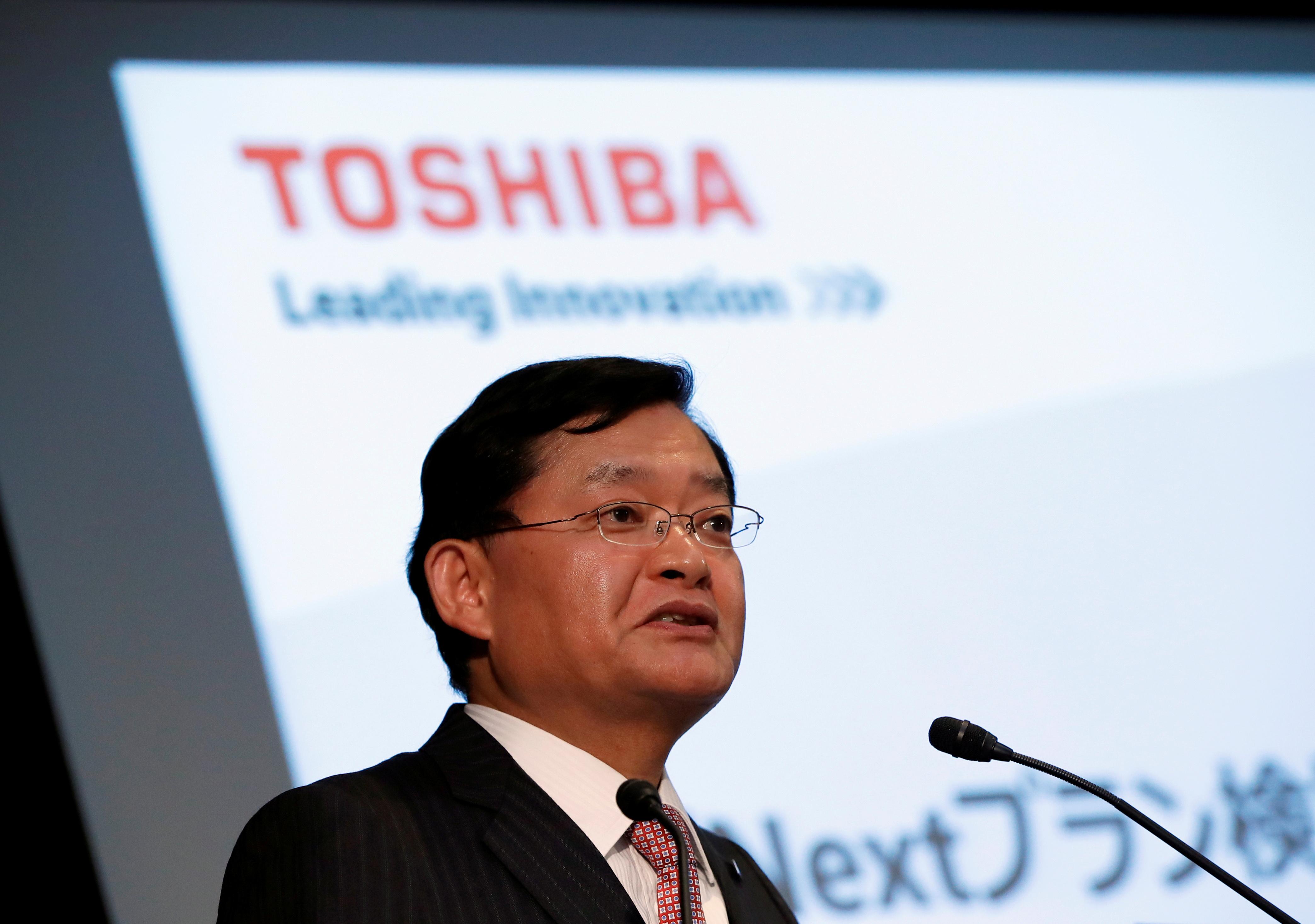 Toshiba Corp's CEO Nobuaki Kurumatani attends a news conference at the company's headquarters in Tokyo, Japan,  May 15, 2018.  REUTERS/Issei Kato