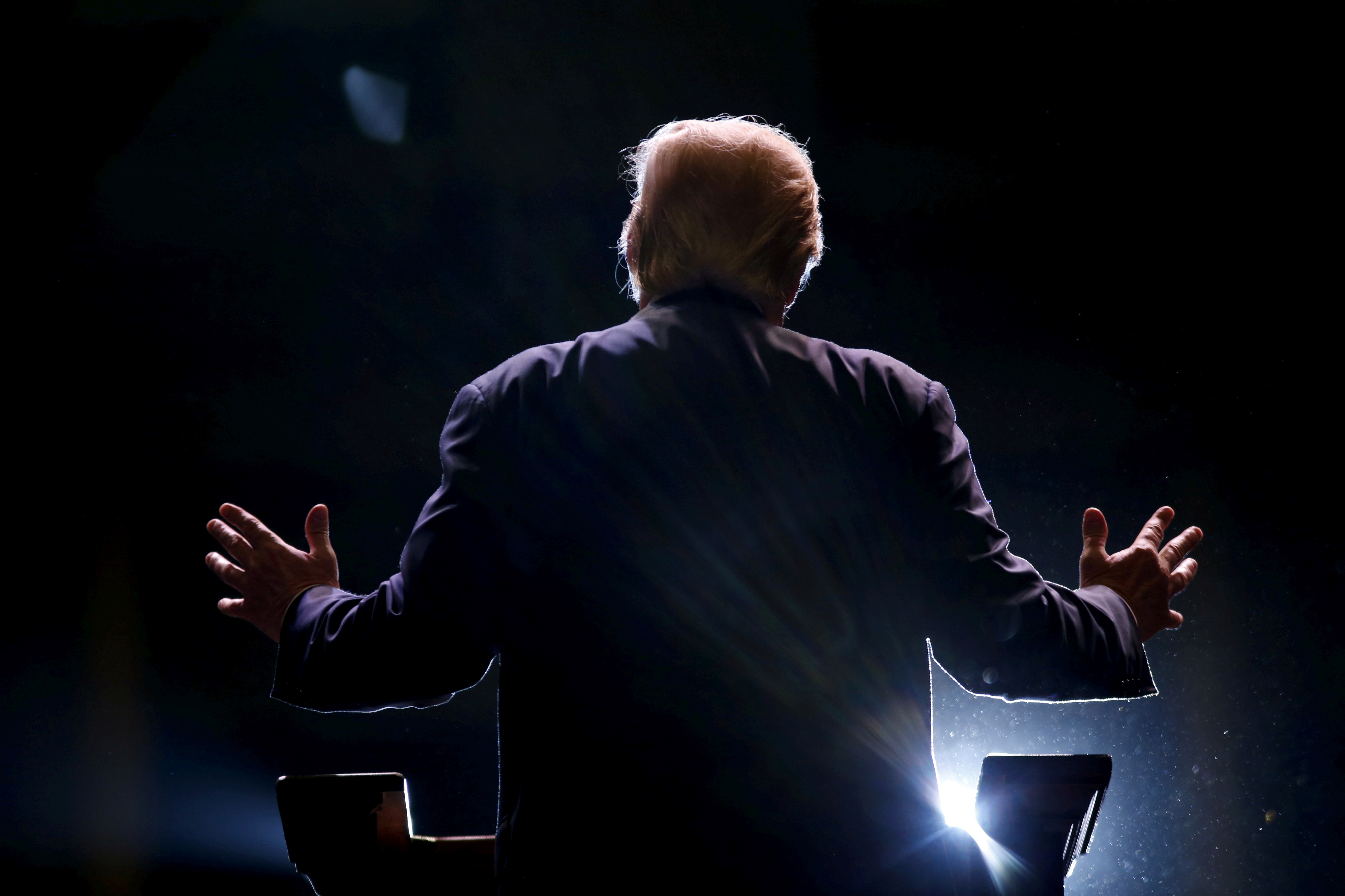 Republican U.S. presidential candidate Donald Trump addresses a Trump for President campaign rally in Macon, Georgia November 30, 2015.   REUTERS/Christopher Aluka Berry