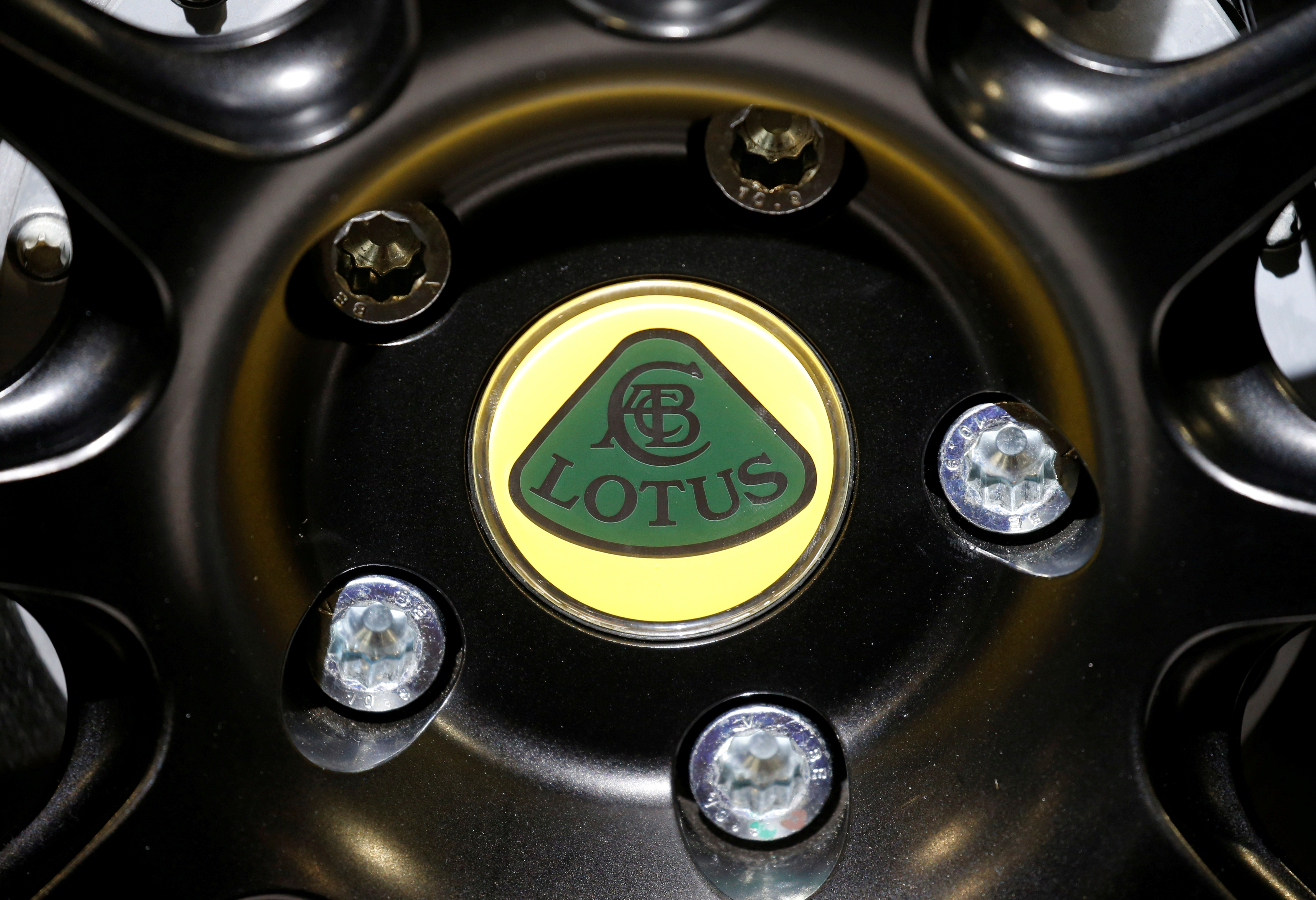 The Lotus logo is seen during the first press day of the Paris auto show, in Paris, France, October 2, 2018. REUTERS/Regis Duvignau
