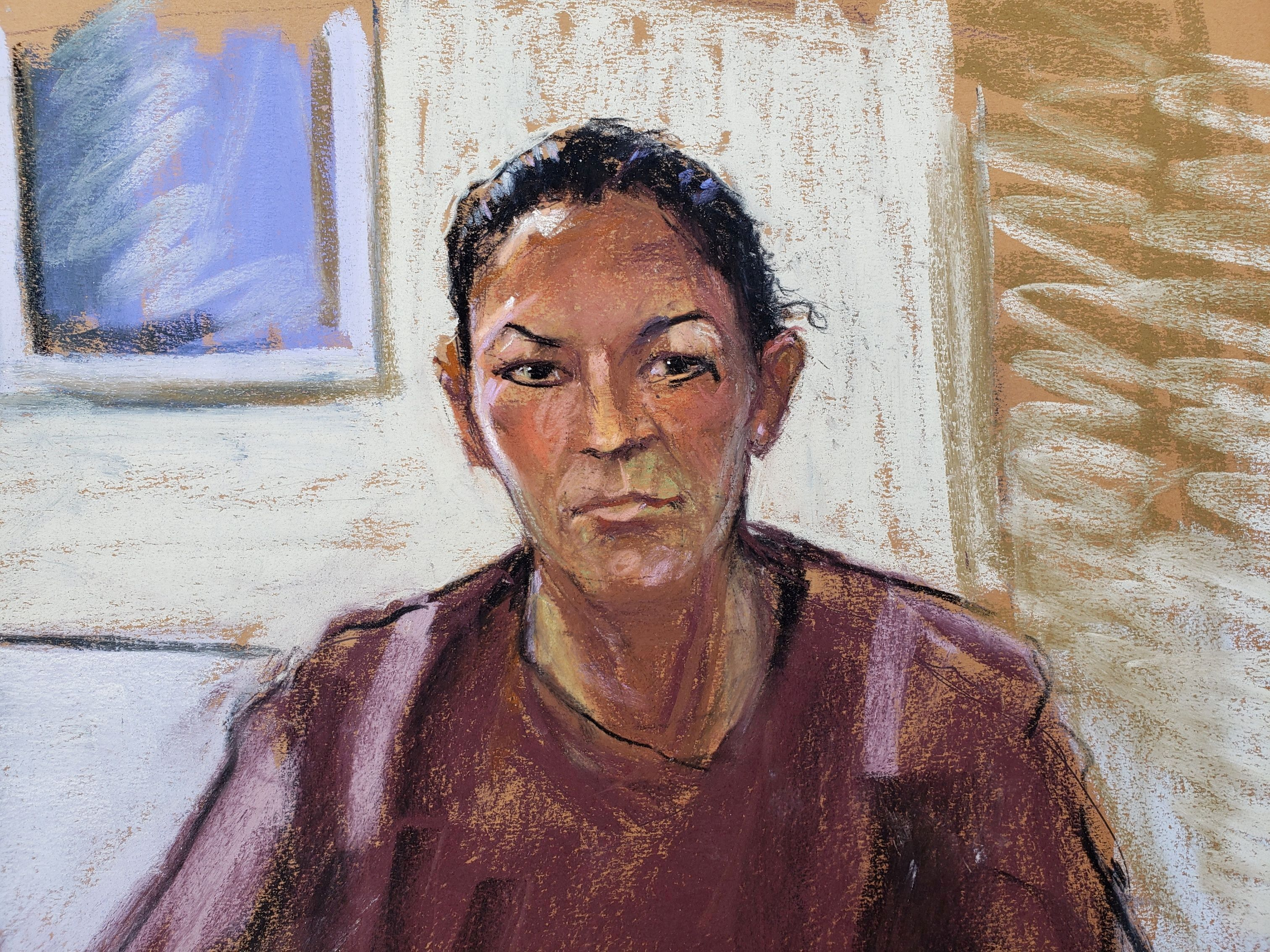 Ghislaine Maxwell appears via video link during her arraignment hearing where she was denied bail for her alleged role aiding Jeffrey Epstein to recruit and eventually abuse of minor girls, in Manhattan Federal Court, in the Manhattan borough of New York City, New York, U.S. July 14, 2020 in this courtroom sketch. REUTERS/Jane Rosenberg/File Photo