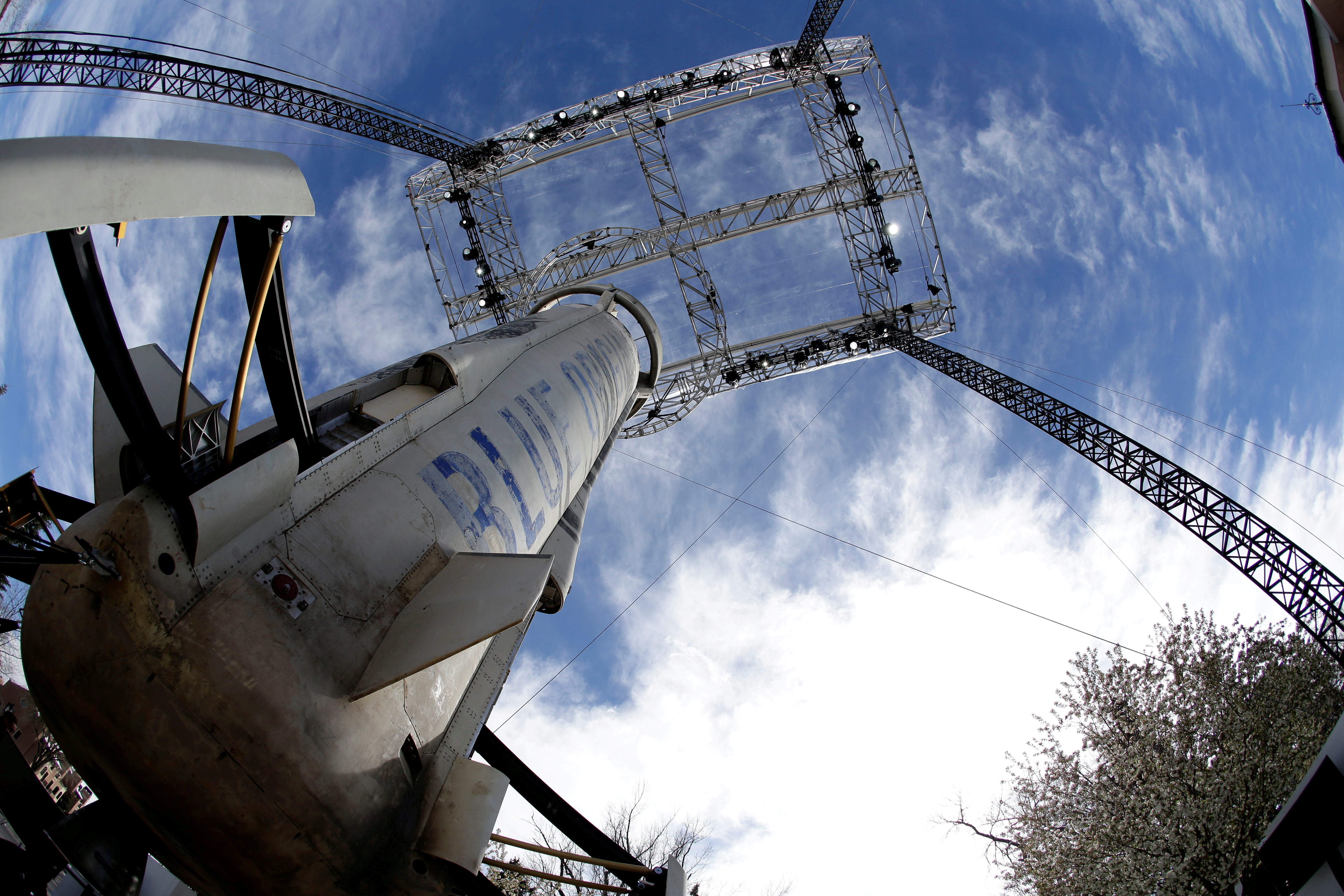 A general view of the Blue Origin New Shepard rocket booster at the 33rd Space Symposium in Colorado Springs, Colorado, United States April 5, 2017.  REUTERS/Isaiah J. Downing/File Photo