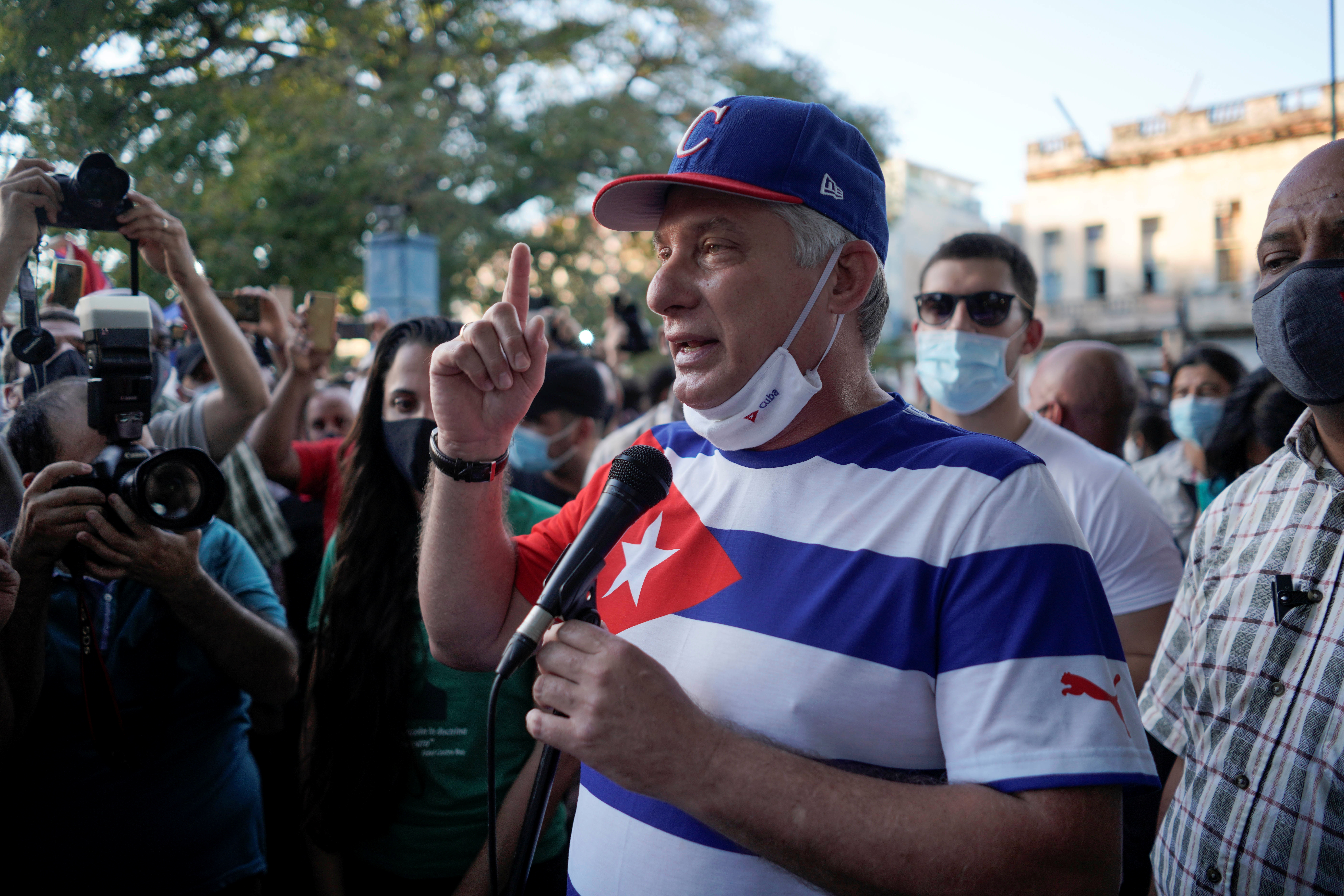 Cuba's President Miguel Diaz Canel speaks during a pro-government rally in Havana, Cuba, November 29, 2020. REUTERS/Alexandre Meneghini