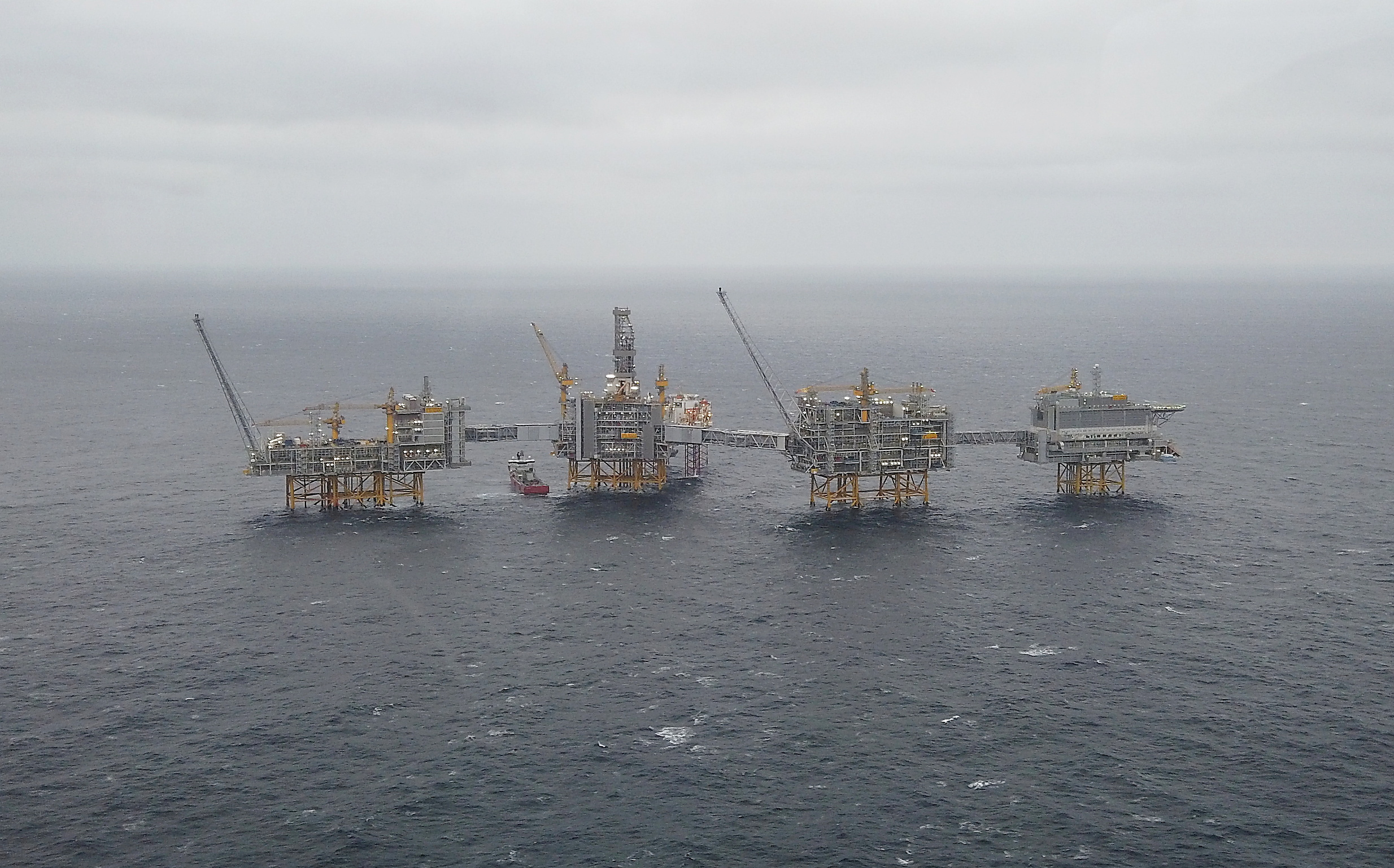 General view of Equinor's Johan Sverdrup oilfield platforms in the North Sea, Norway, December 3, 2019. REUTERS/Ints Kalnins/File Photo