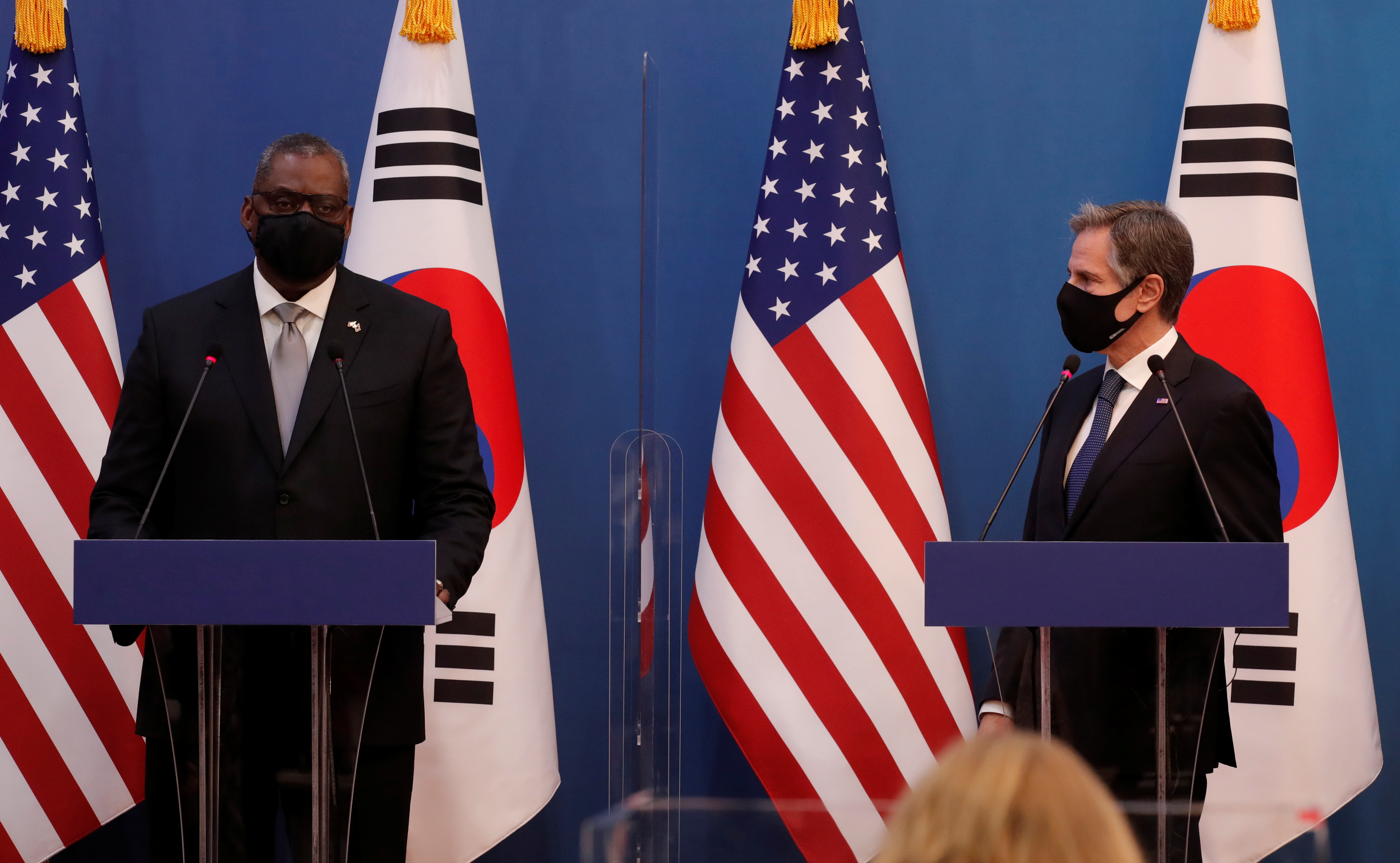U.S. Defense Secretary Lloyd Austin speaks as U.S. Secretary of State Antony Blinken listens during a joint news conference after the Foreign and Defense Ministerial meeting between South Korea and U.S. at the Foreign Ministry in Seoul, South Korea, March 18, 2021. Lee Jin-man/Pool via REUTERS