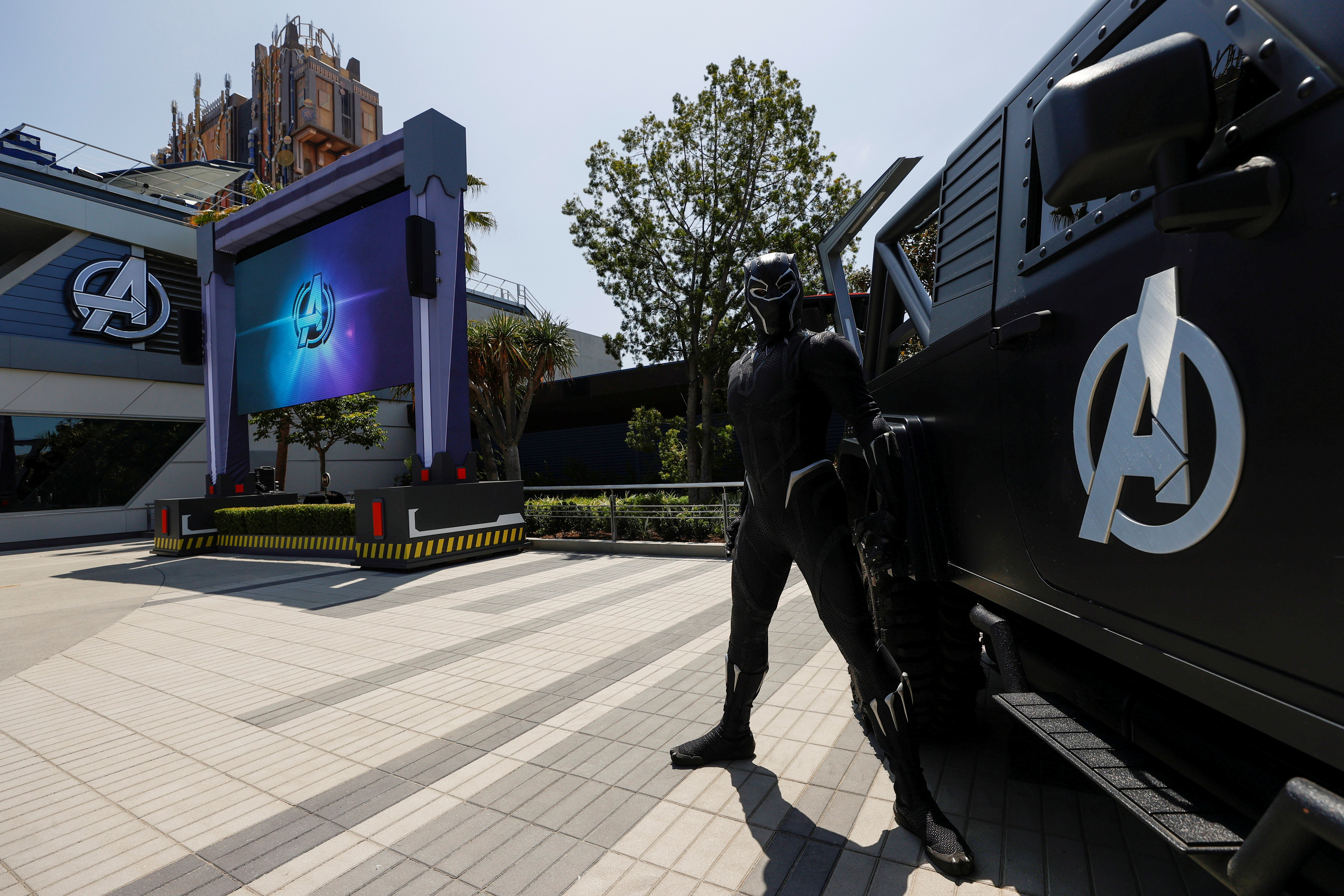 The character of Black Panther is pictured next to a vehicle ahead of the opening of the Avengers Campus area at Disney California Adventure Park in Anaheim, California, U.S., June 1, 2021. Picture taken June 1, 2021. REUTERS/Mario Anzuoni/File Photo