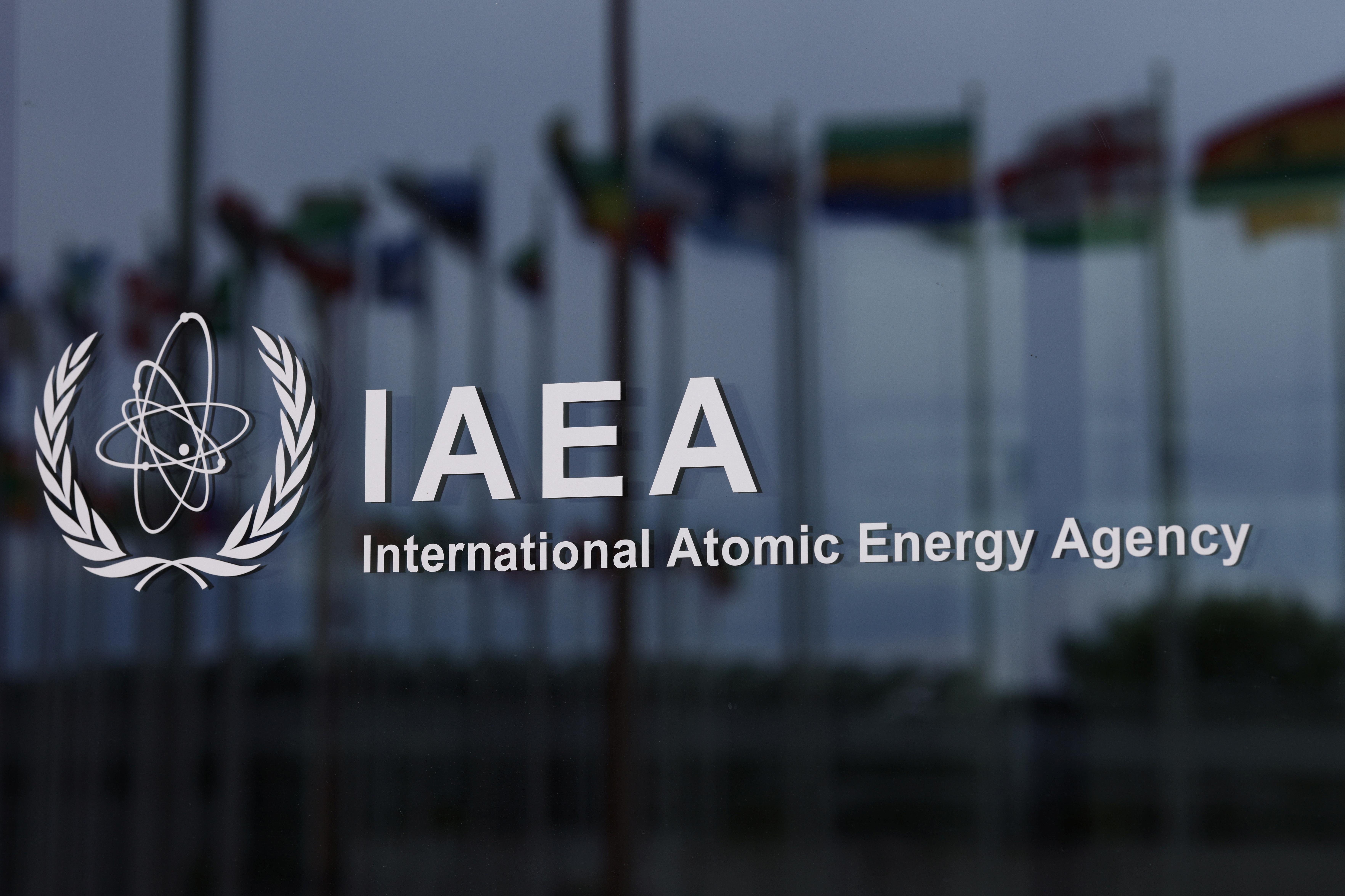 The logo of the International Atomic Energy Agency (IAEA) is seen at the IAEA headquarters, amid the coronavirus disease (COVID-19) pandemic, in Vienna, Austria May 24, 2021. REUTERS/Lisi Niesner