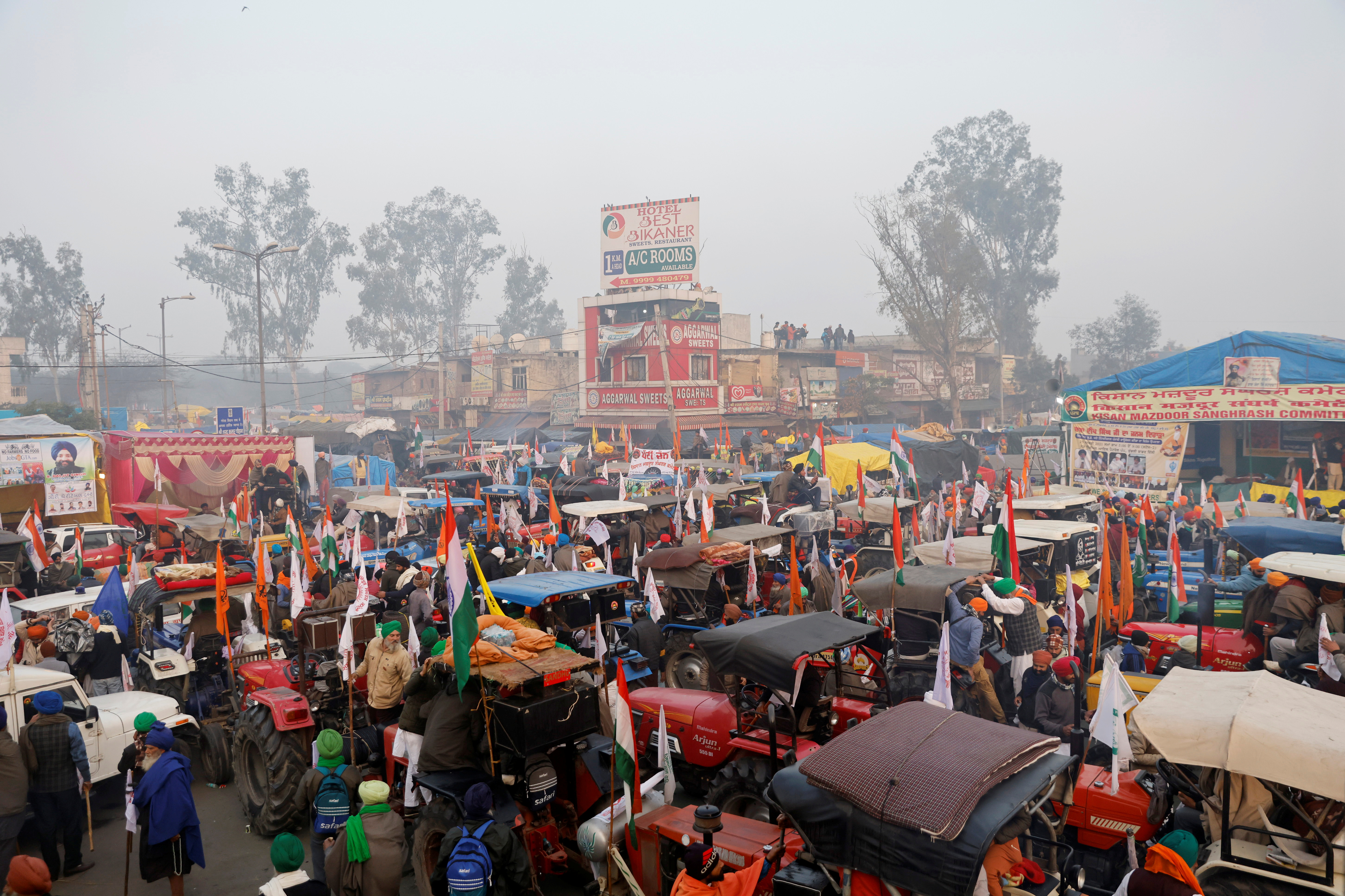 A view shows tractors before the start of a tractor rally to protest against farm laws on the occasion of India's Republic Day at Singhu border near Delhi, India, January 26, 2021. REUTERS/Danish Siddiqui